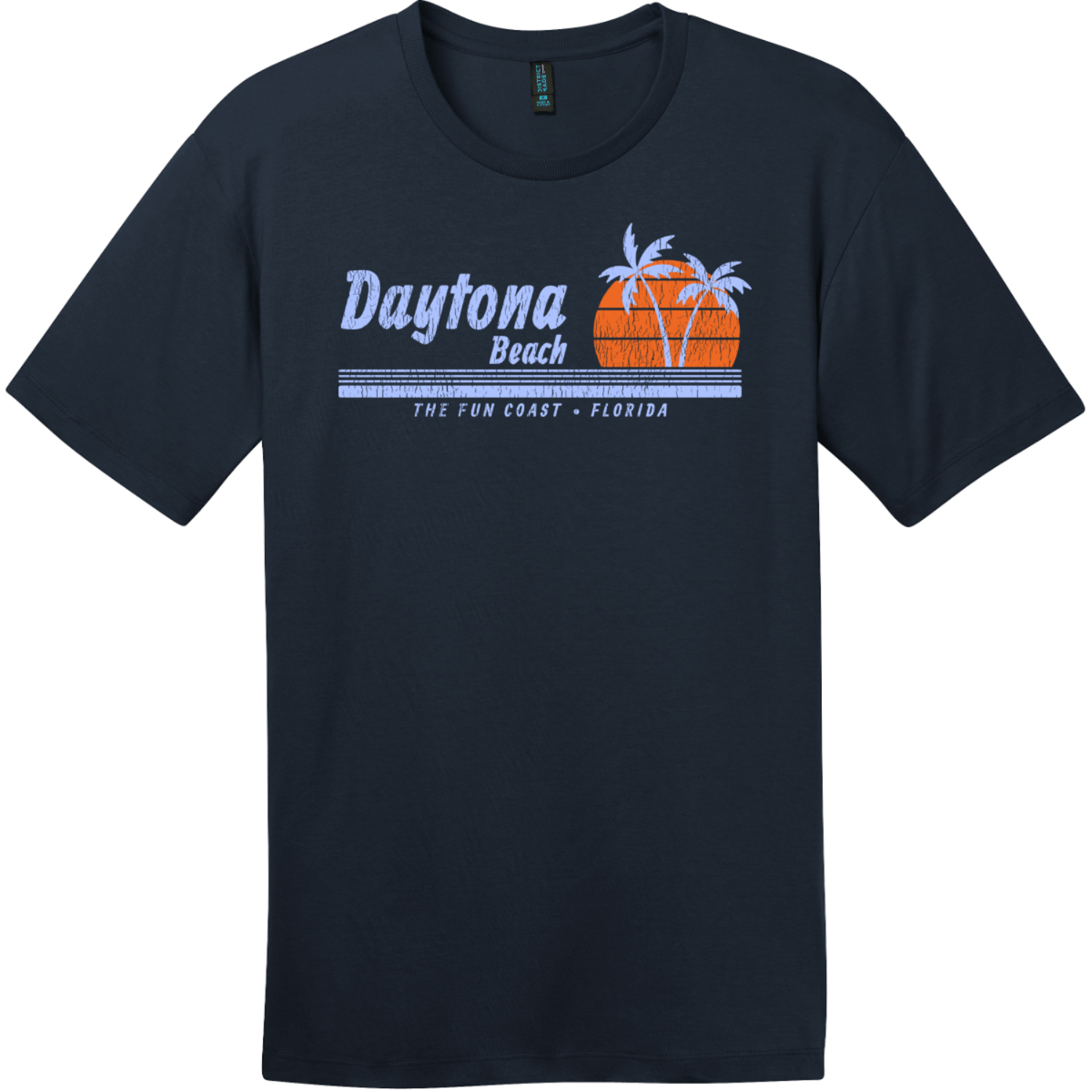 Daytona Beach Florida Fun Coast T-Shirt New Navy District Perfect Weight Tee DT104
