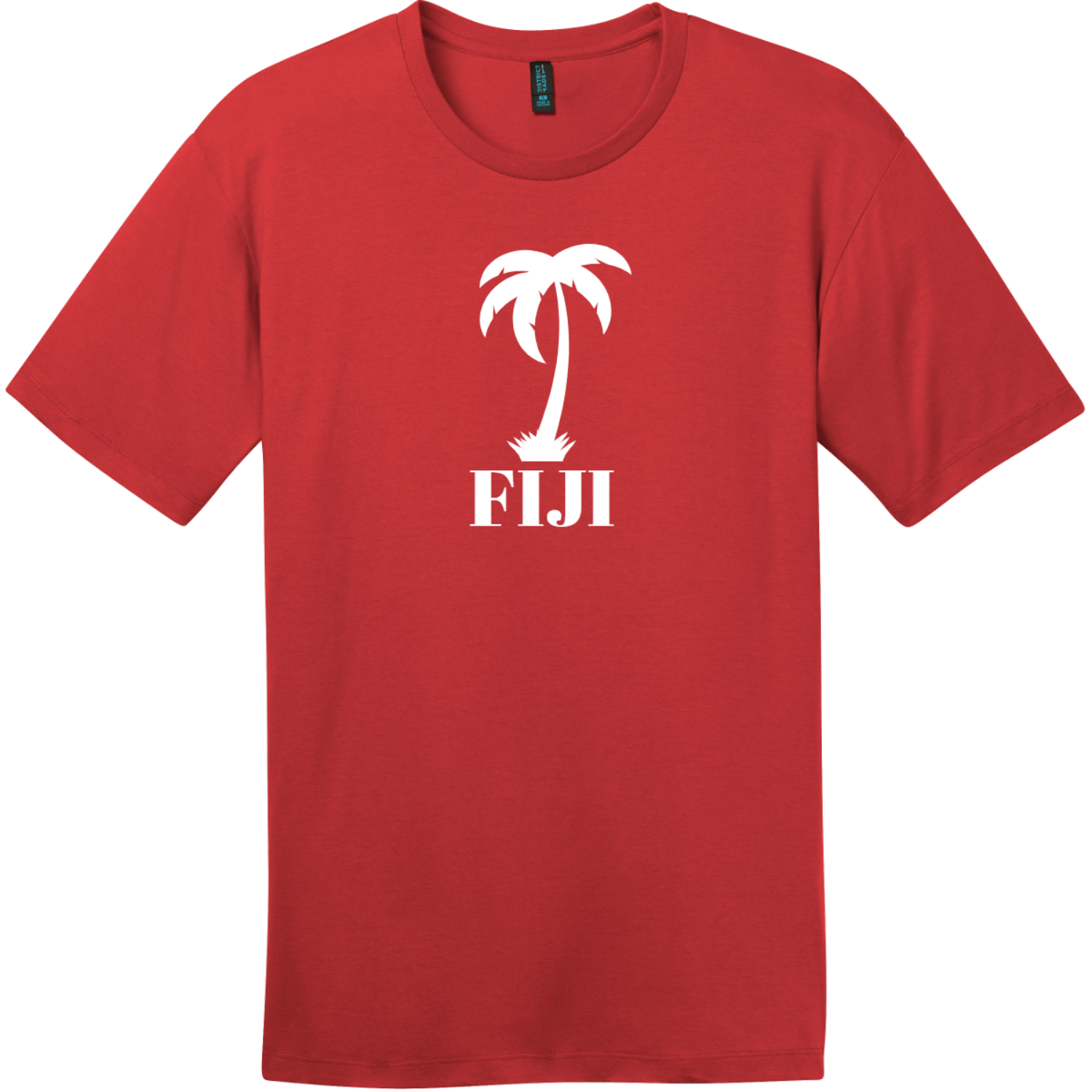 Fiji Palm Tree T-Shirt Classic Red District Perfect Weight Tee DT104