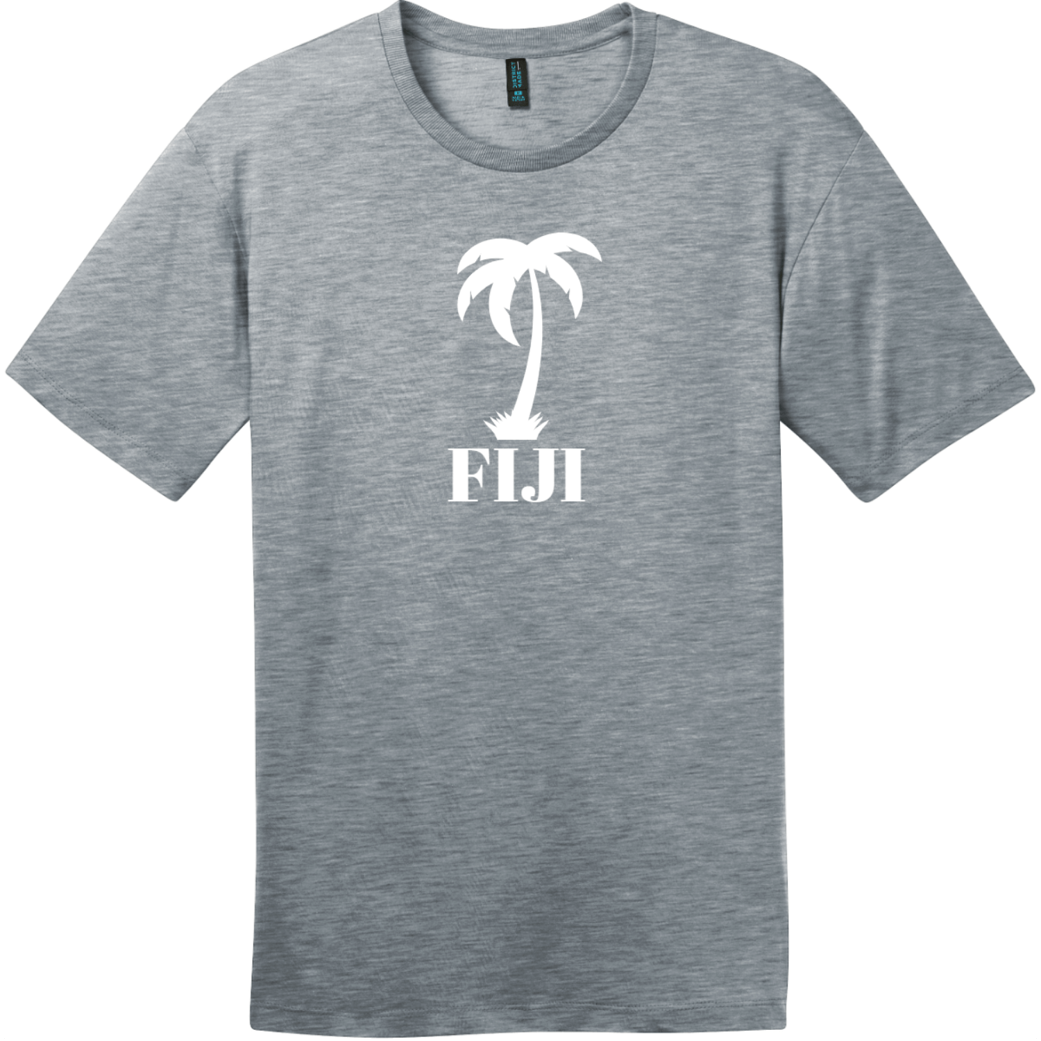 Fiji Palm Tree T-Shirt Heathered Steel District Perfect Weight Tee DT104