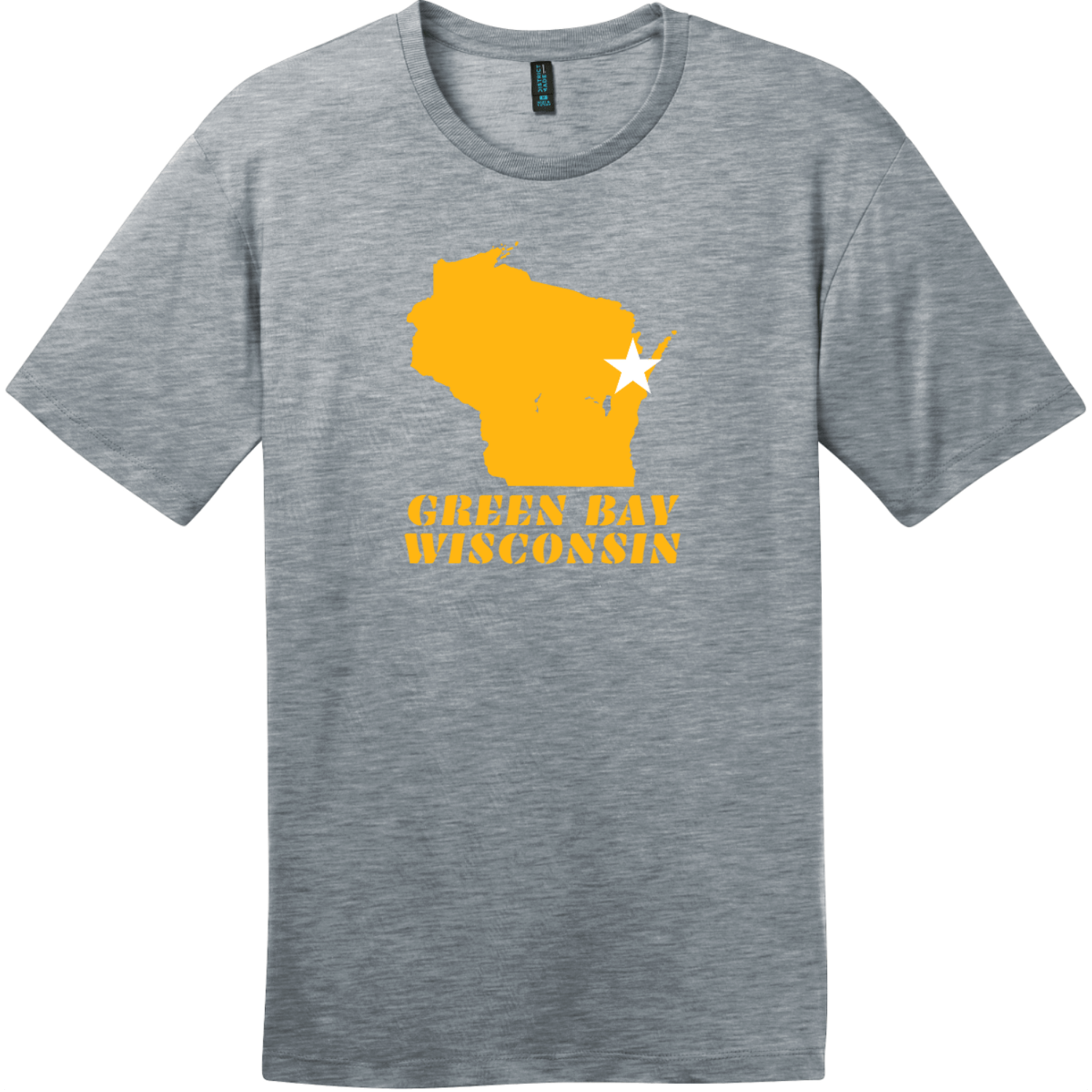 Green Bay Wisconsin State Retro T-Shirt Heathered Steel District Perfect Weight Tee DT104