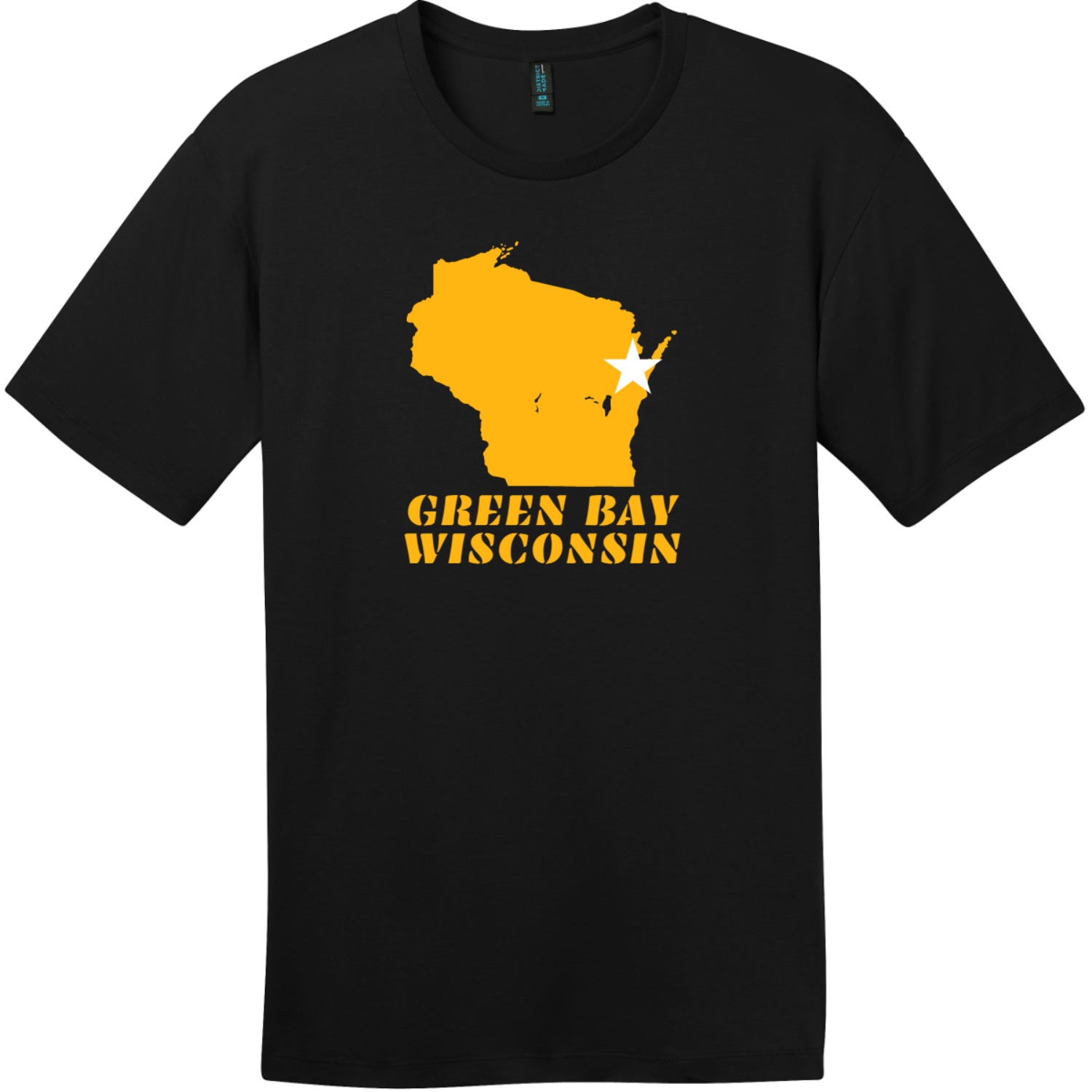 Green Bay Wisconsin State Retro T-Shirt Jet Black District Perfect Weight Tee DT104