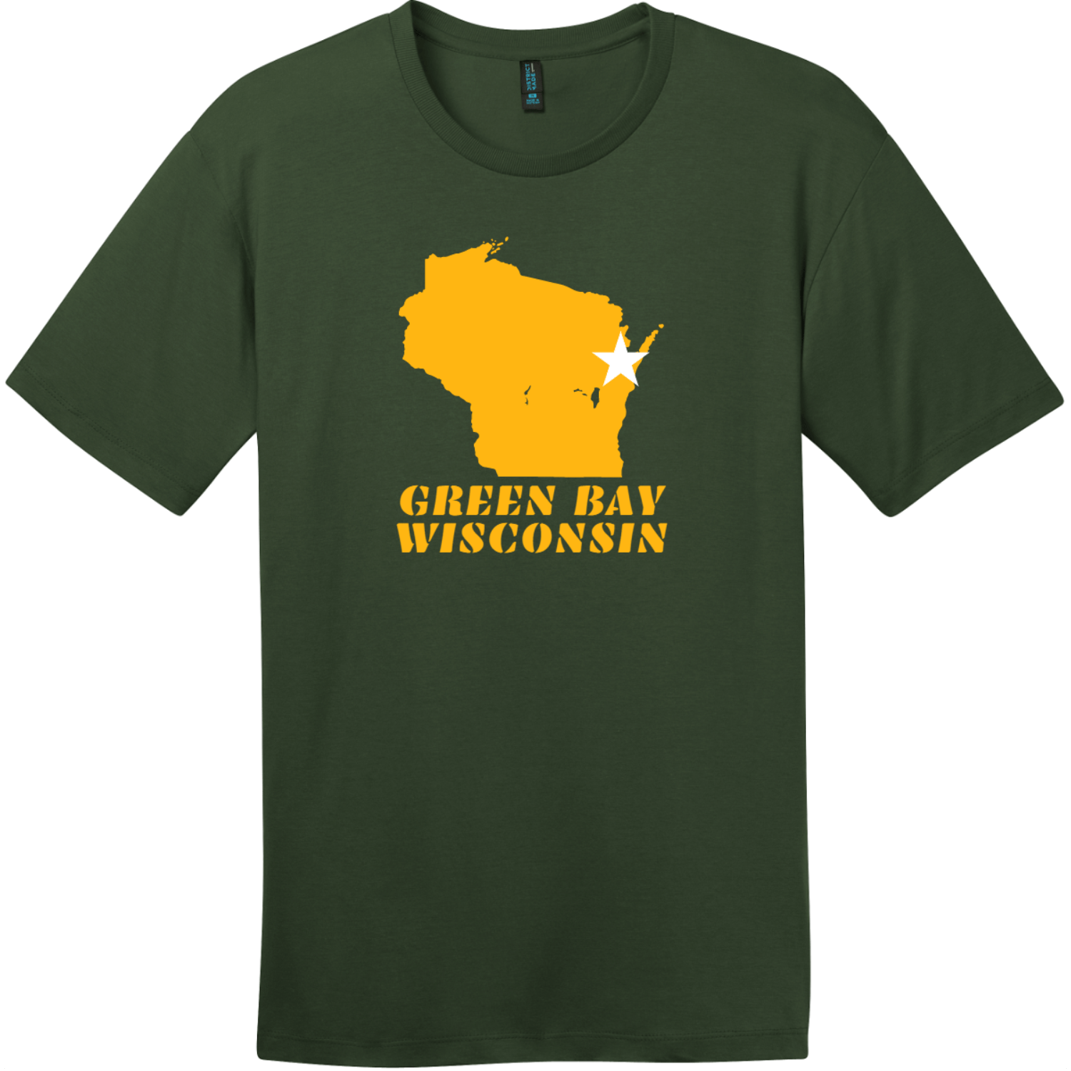 Green Bay Wisconsin State Retro T-Shirt Thyme Green District Perfect Weight Tee DT104