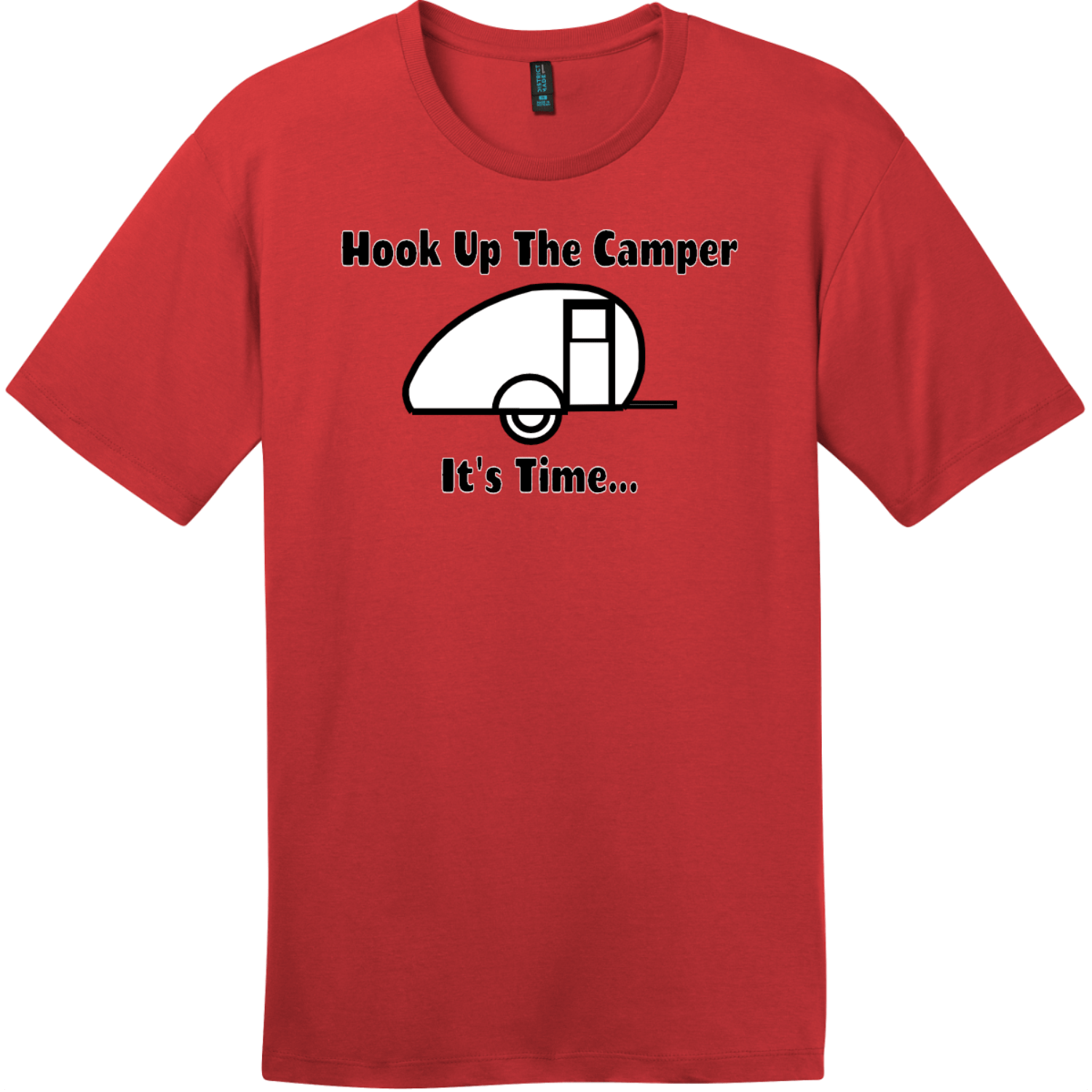Hook Up The Camper T-Shirt Classic Red District Perfect Weight Tee DT104