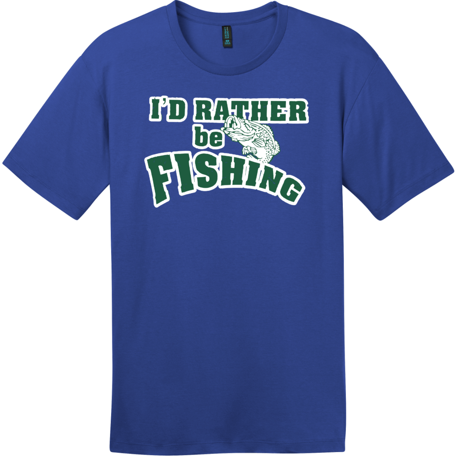 I'd Rather Be Fishing T-Shirt Deep Royal District Perfect Weight Tee DT104