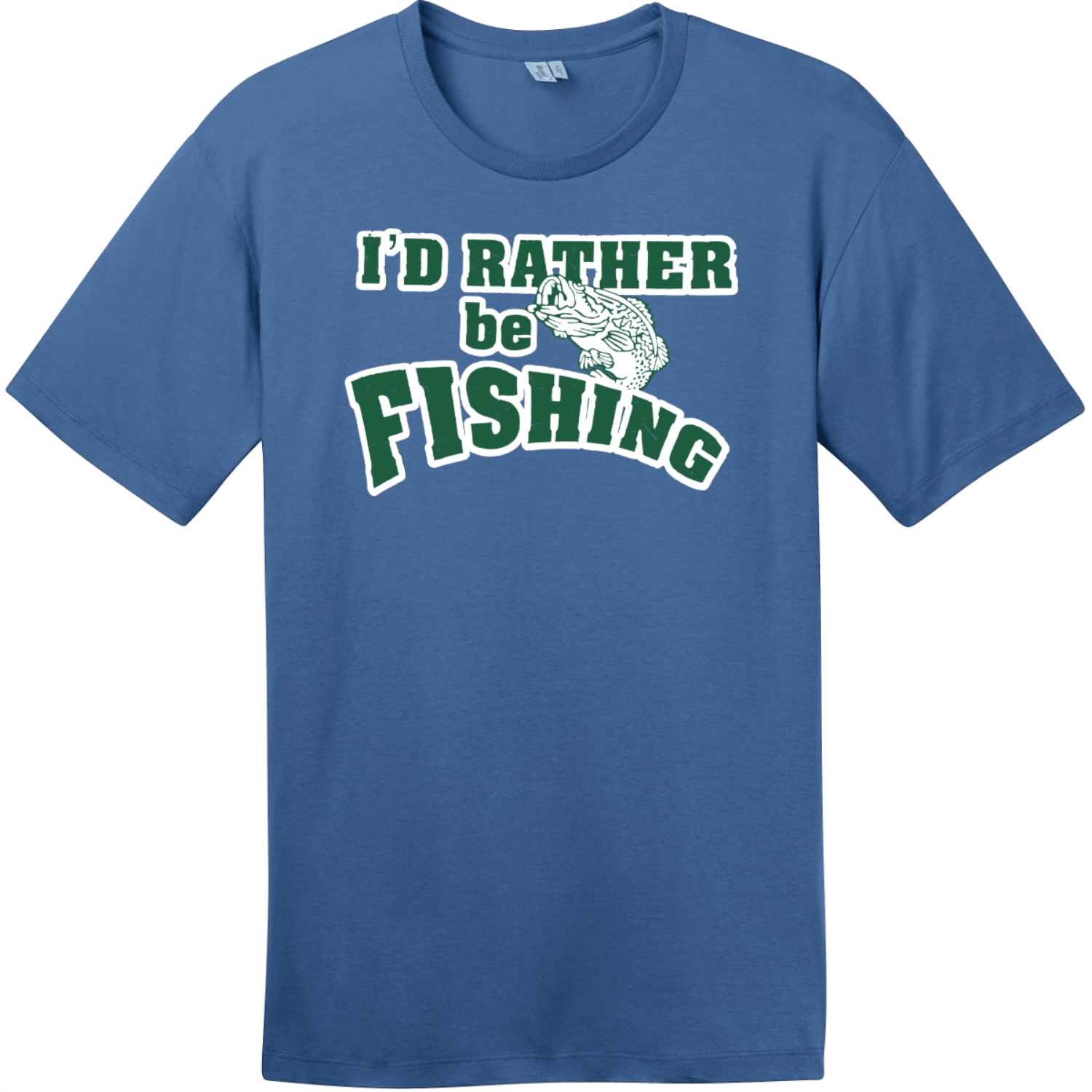 I'd Rather Be Fishing T-Shirt Maritime Blue District Perfect Weight Tee DT104