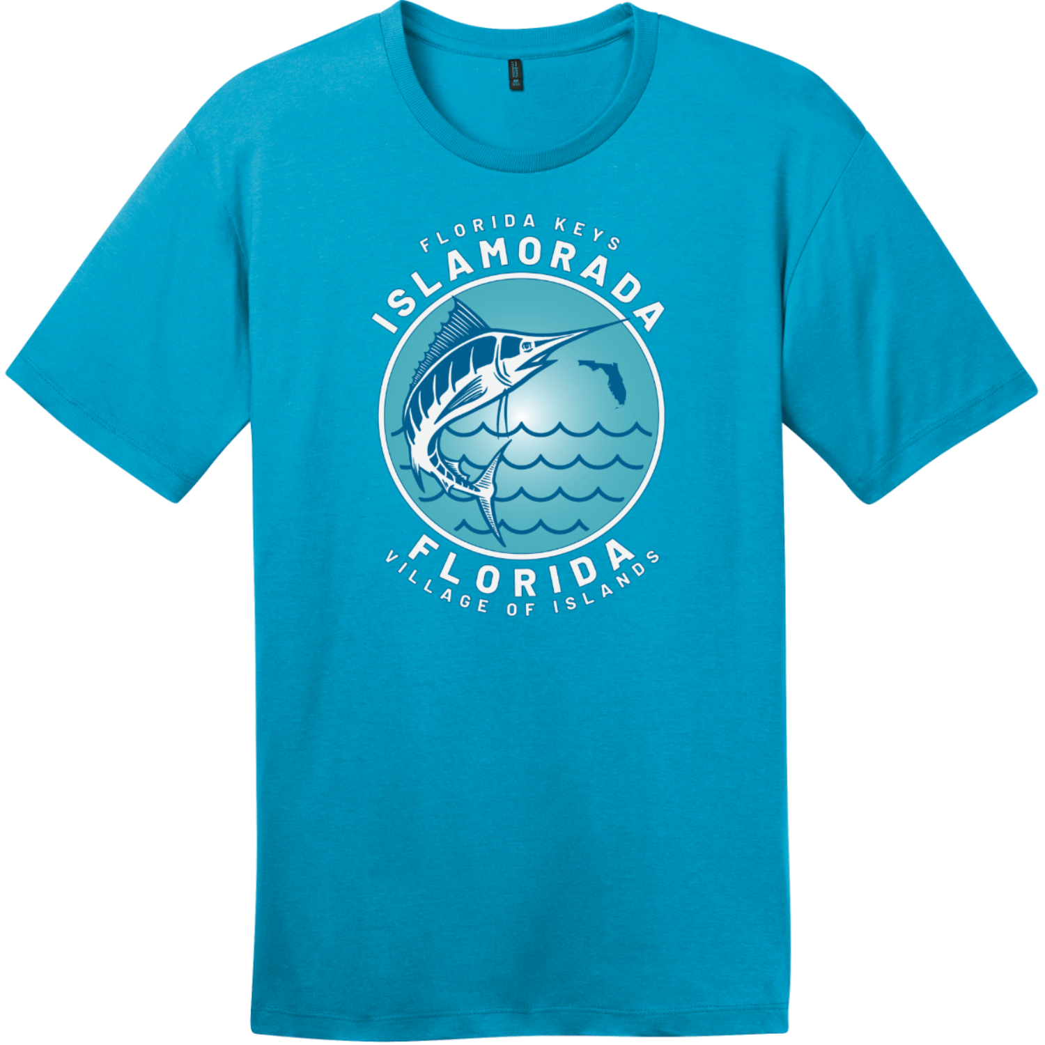 Islamorada Florida Keys Swordfish T-Shirt Bright Turquoise District Perfect Weight Tee DT104