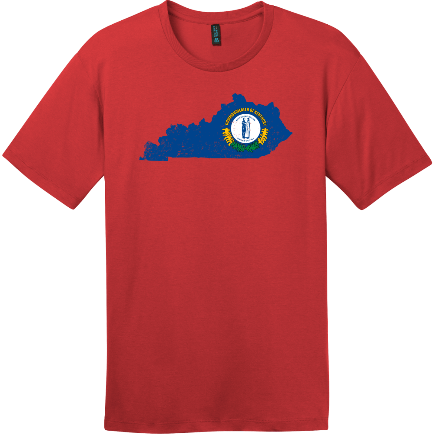 Kentucky State Shaped Flag T-Shirt Classic Red District Perfect Weight Tee DT104