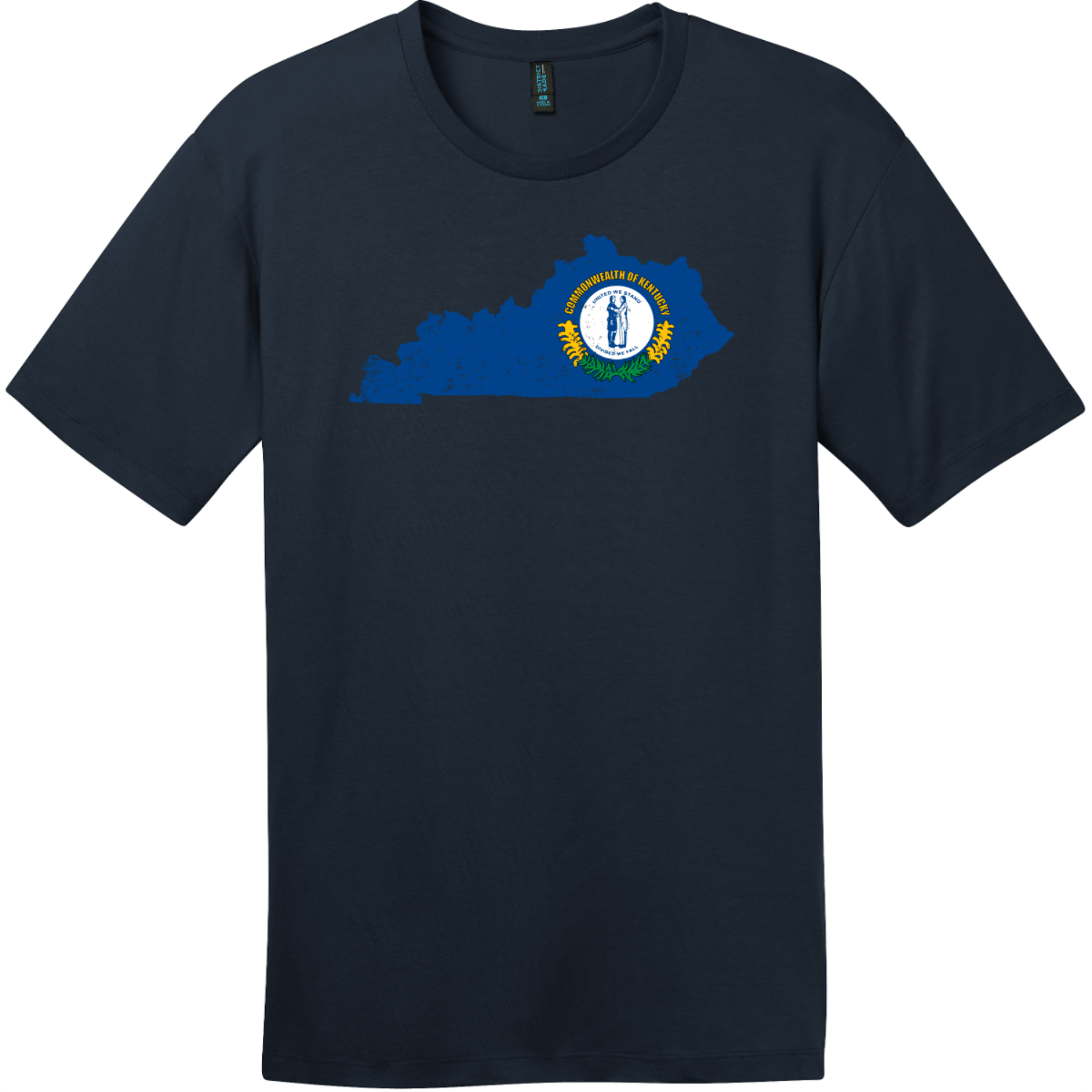Kentucky State Shaped Flag T-Shirt New Navy District Perfect Weight Tee DT104