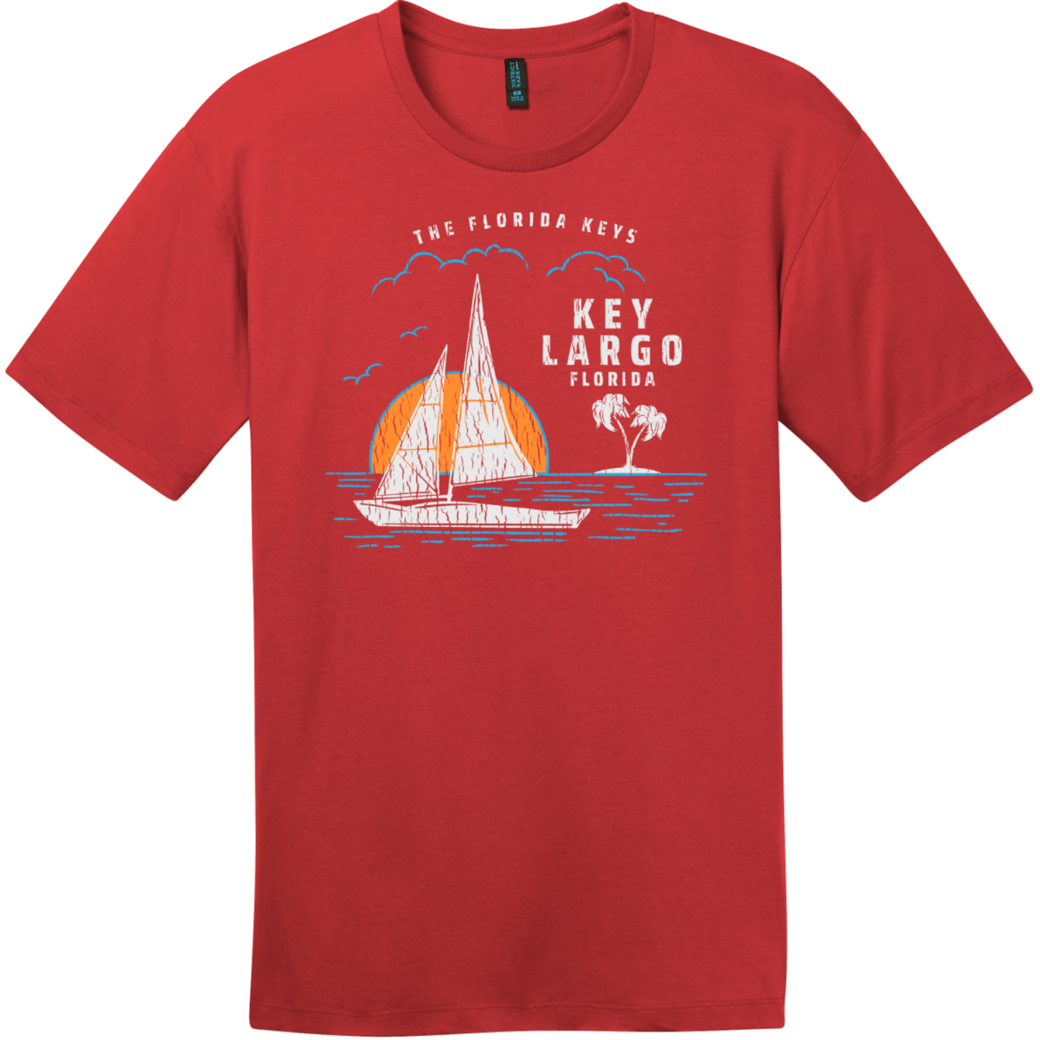 Key Largo Florida Sailing T-Shirt Classic Red District Perfect Weight Tee DT104