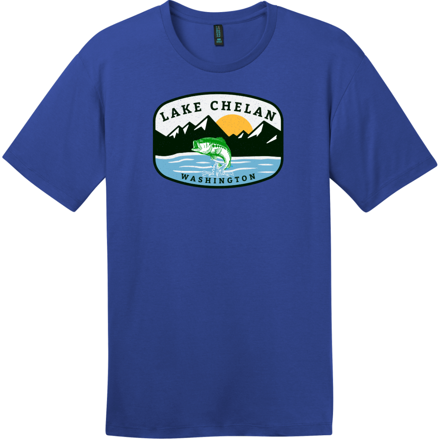 Lake Chelan Washington Fishing T-Shirt Deep Royal District Perfect Weight Tee DT104
