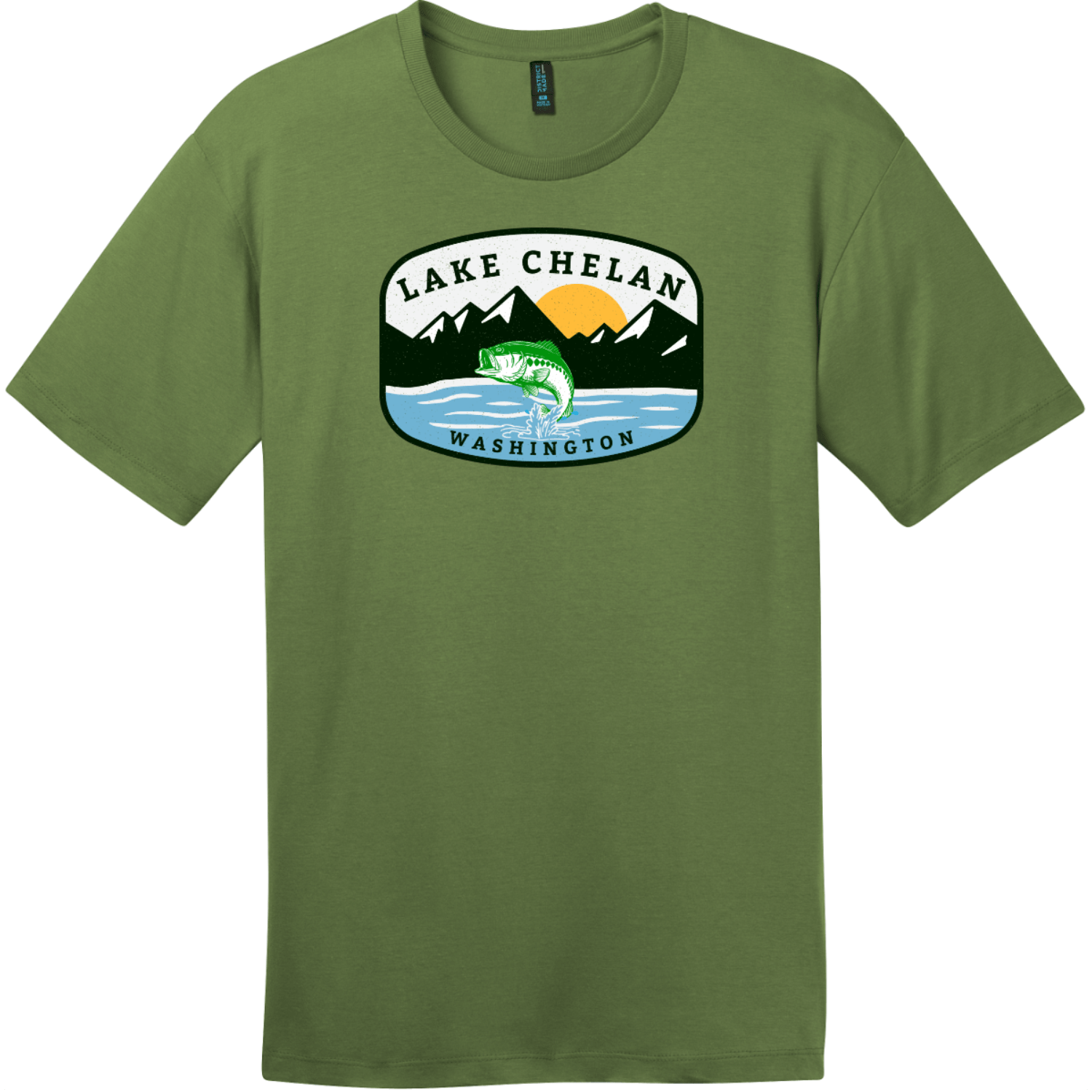 Lake Chelan Washington Fishing T-Shirt Fresh Fatigue District Perfect Weight Tee DT104