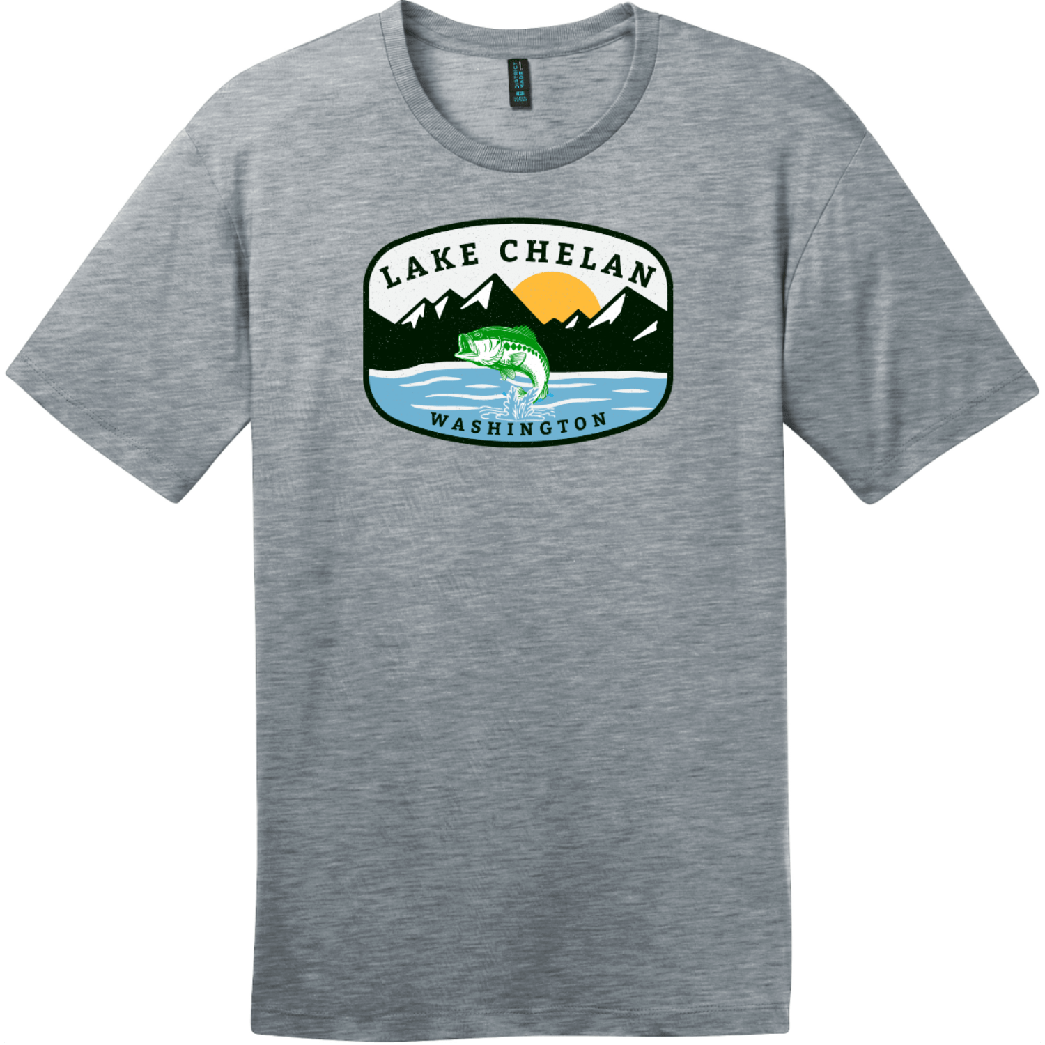 Lake Chelan Washington Fishing T-Shirt Heathered Steel District Perfect Weight Tee DT104