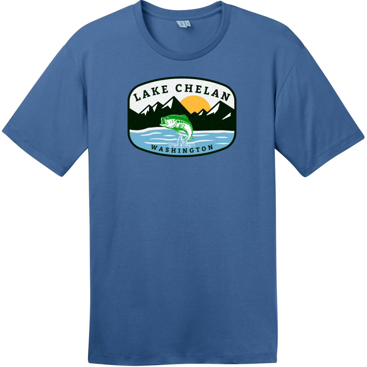 Lake Chelan Washington Fishing T-Shirt Maritime Blue District Perfect Weight Tee DT104