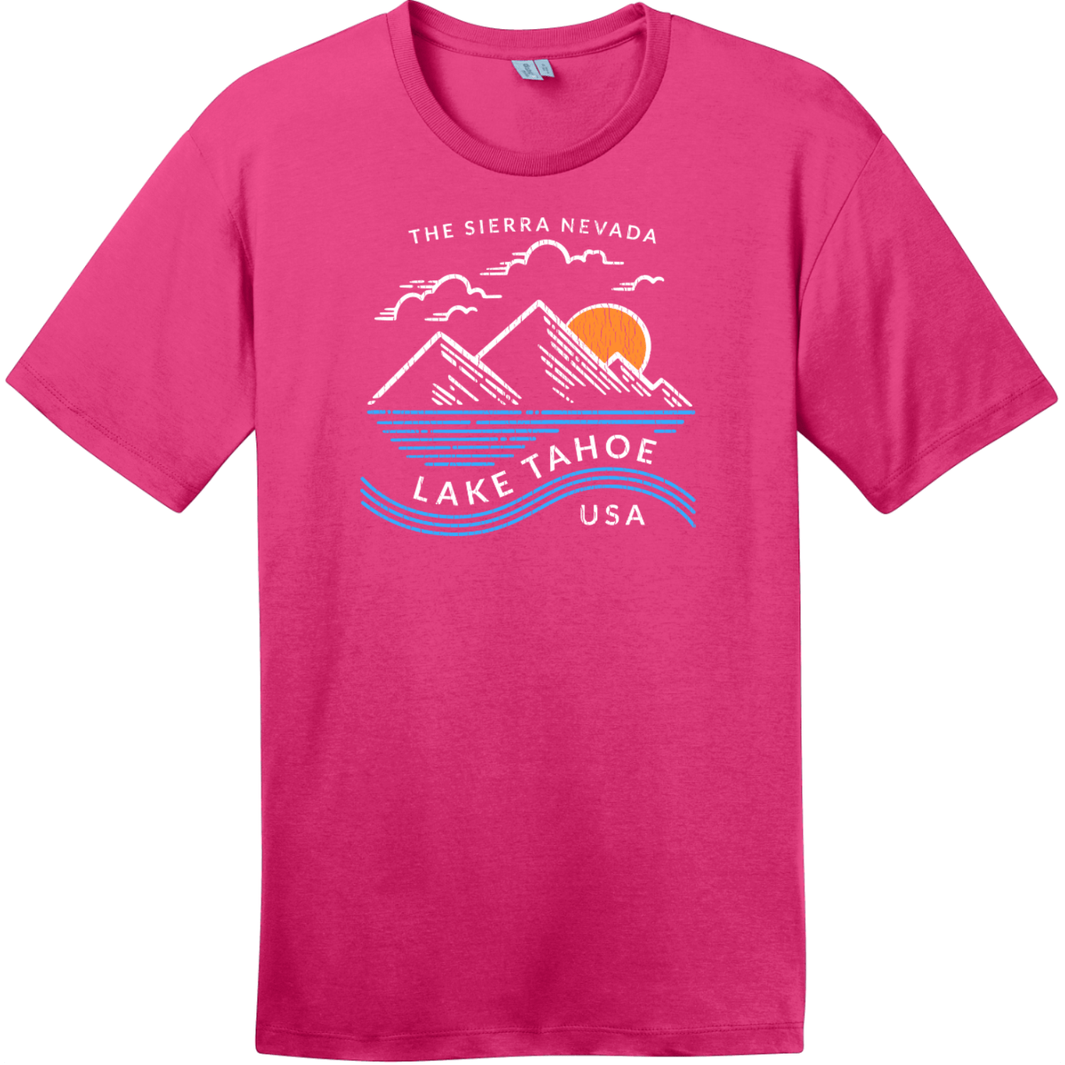Lake Tahoe Sierra Nevada Mountain T-Shirt Dark Fuchsia District Perfect Weight Tee DT104