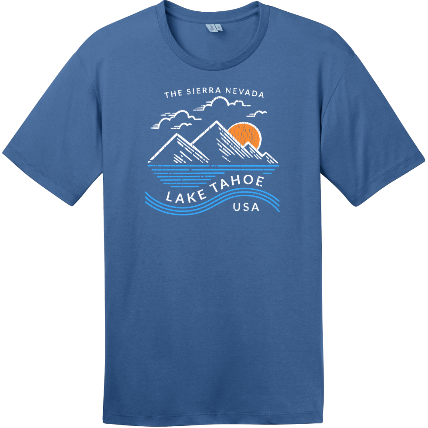 Lake Tahoe Sierra Nevada Mountain T-Shirt Maritime Blue District Perfect Weight Tee DT104