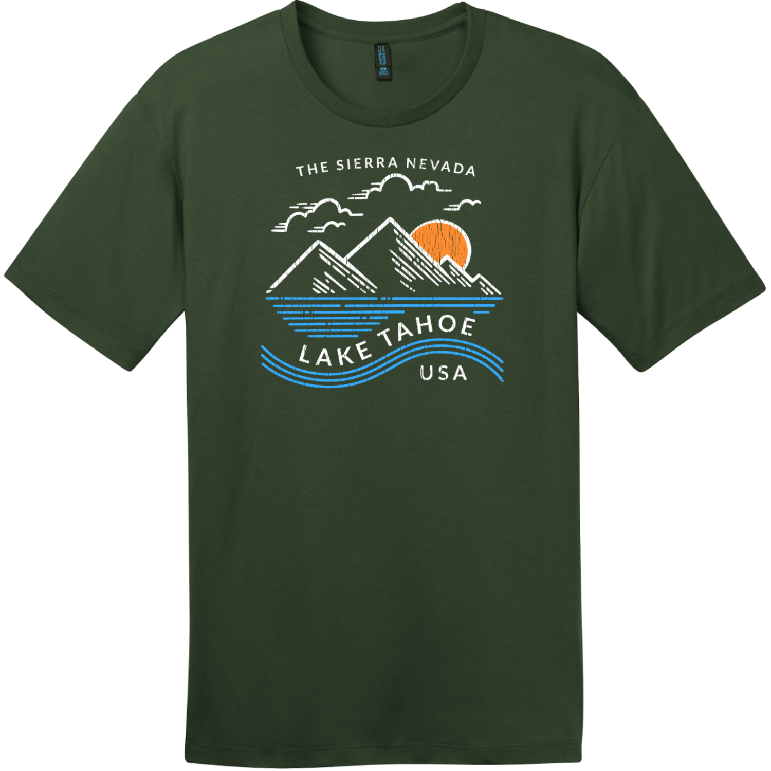 Lake Tahoe Sierra Nevada Mountain T-Shirt Thyme Green District Perfect Weight Tee DT104