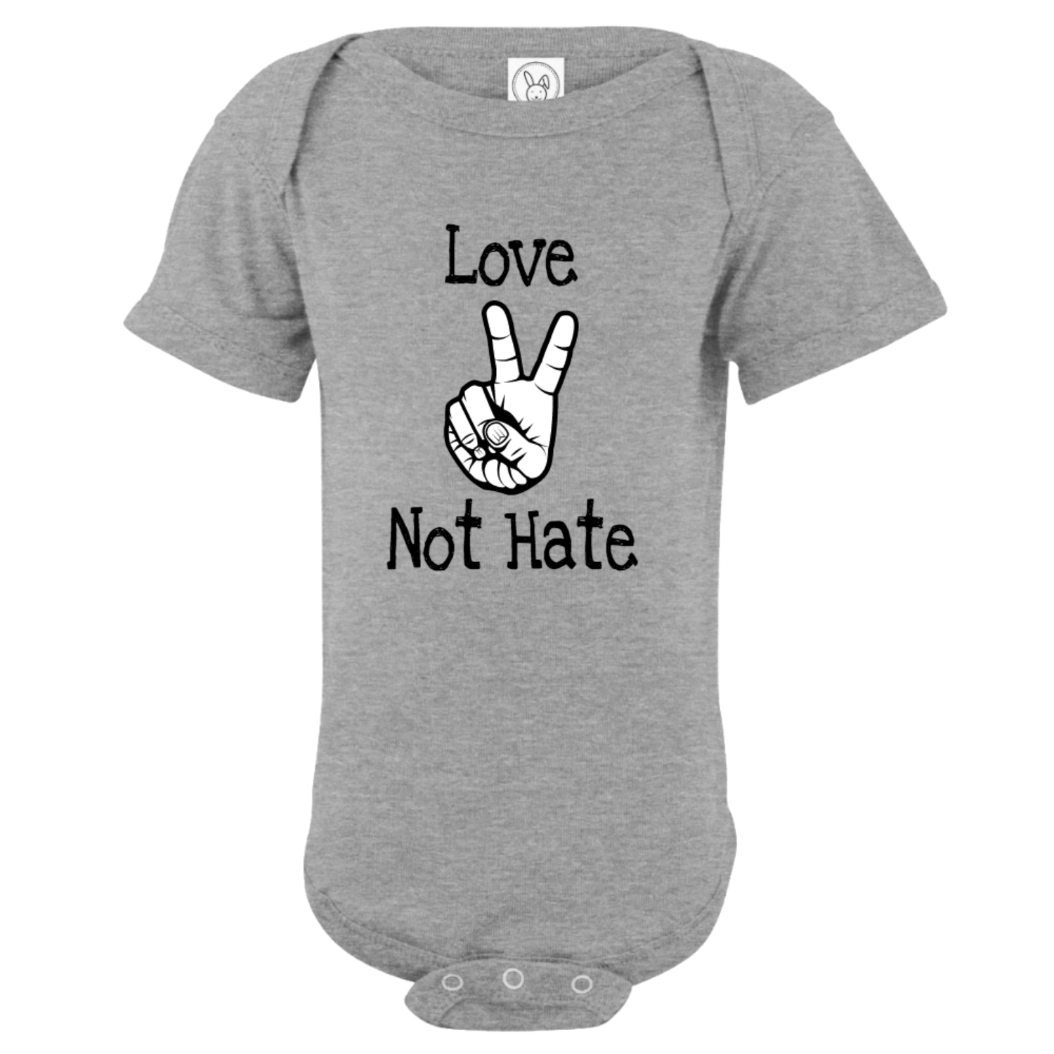 Love Not Hate Peace Hands Bodysuit Gray