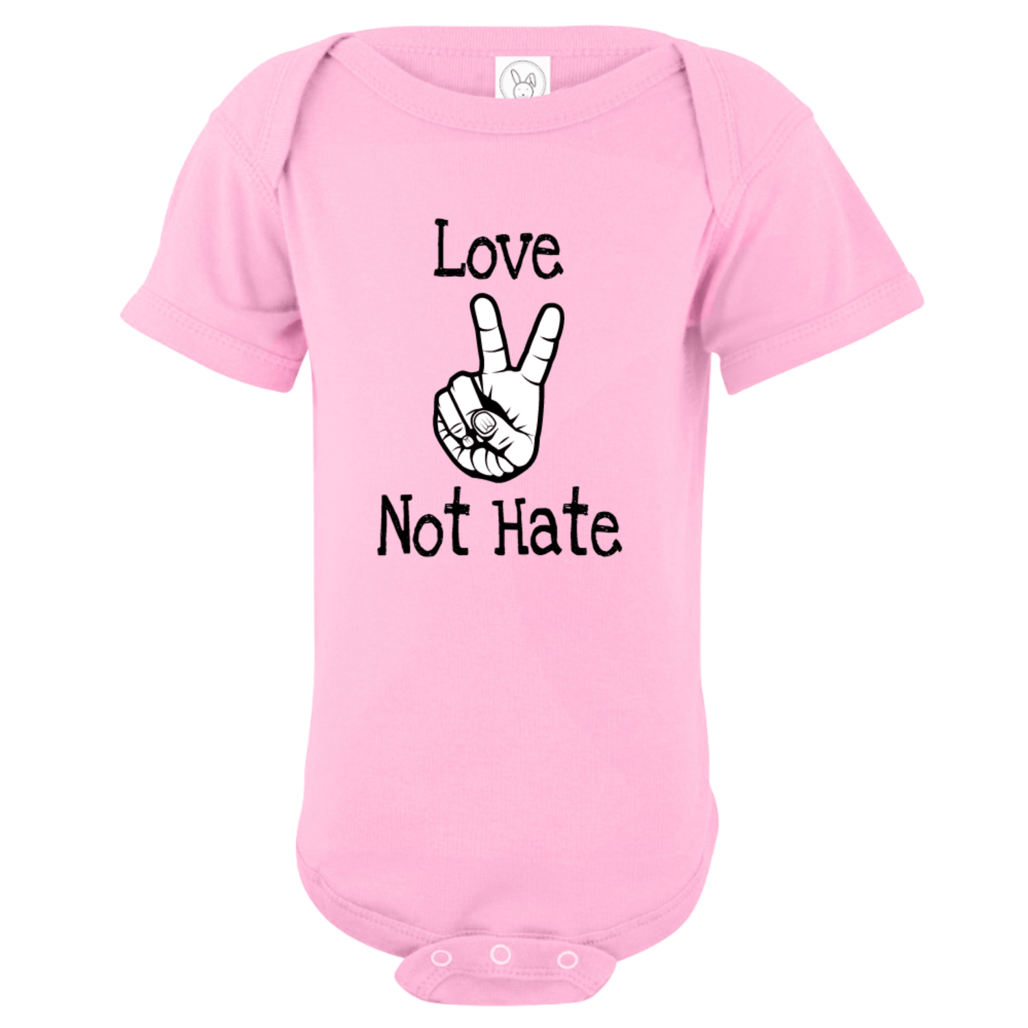 Love Not Hate Peace Hands Bodysuit Light Pink