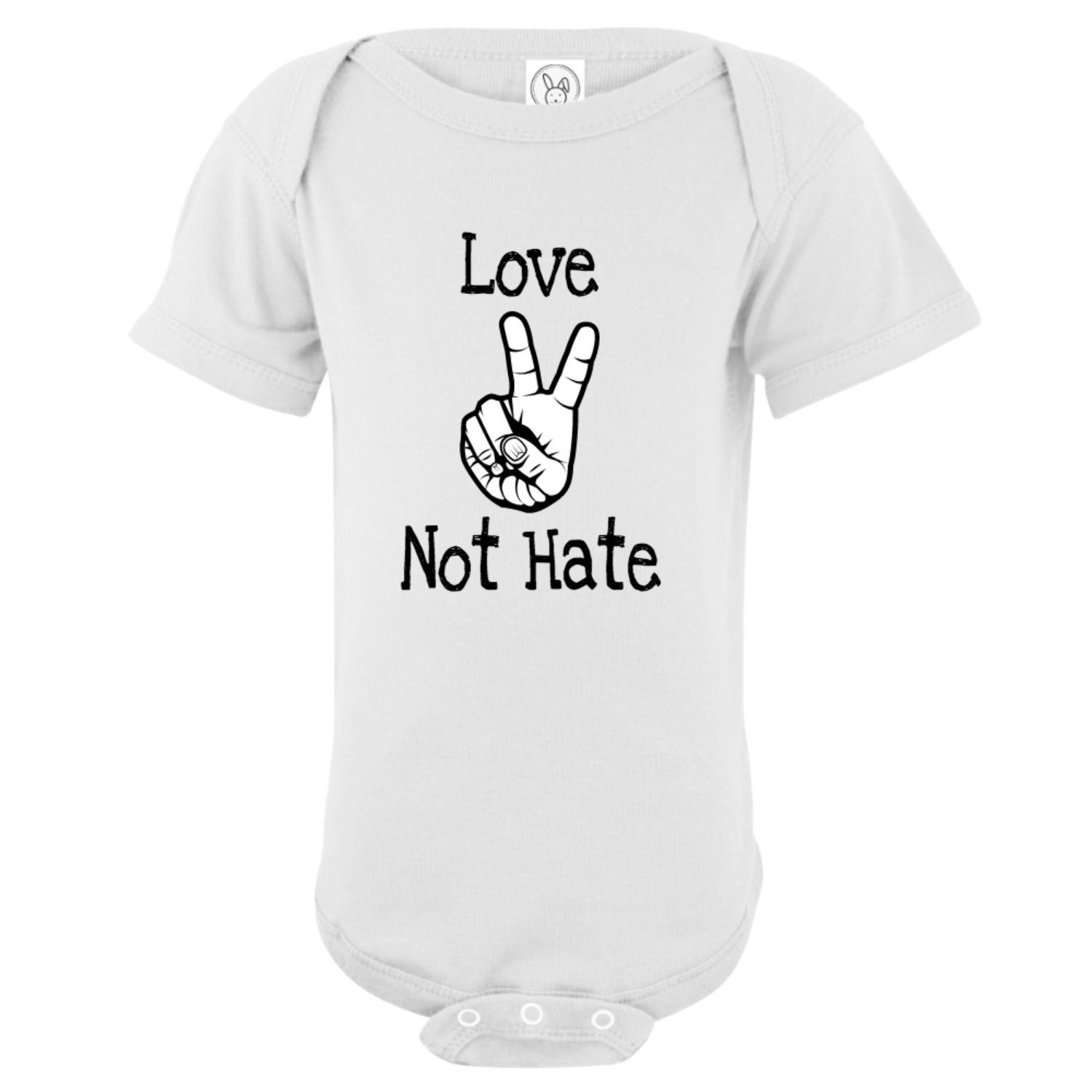 Love Not Hate Peace Hands Bodysuit White