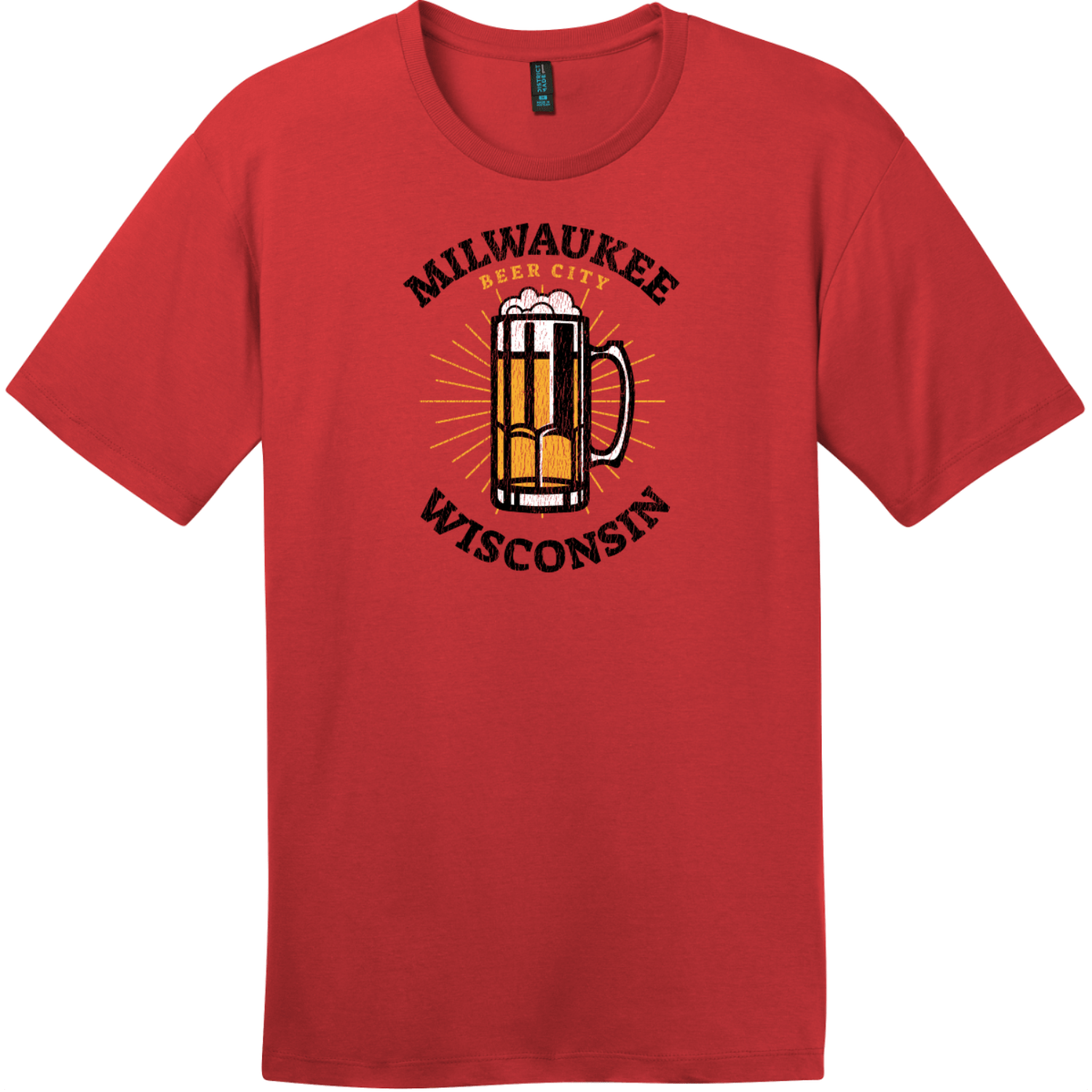 Milwaukee Wisconsin Beer City T-Shirt Classic Red District Perfect Weight Tee DT104