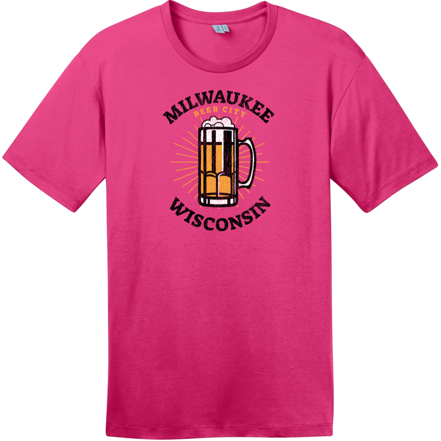 Milwaukee Wisconsin Beer City T-Shirt Dark Fuchsia District Perfect Weight Tee DT104