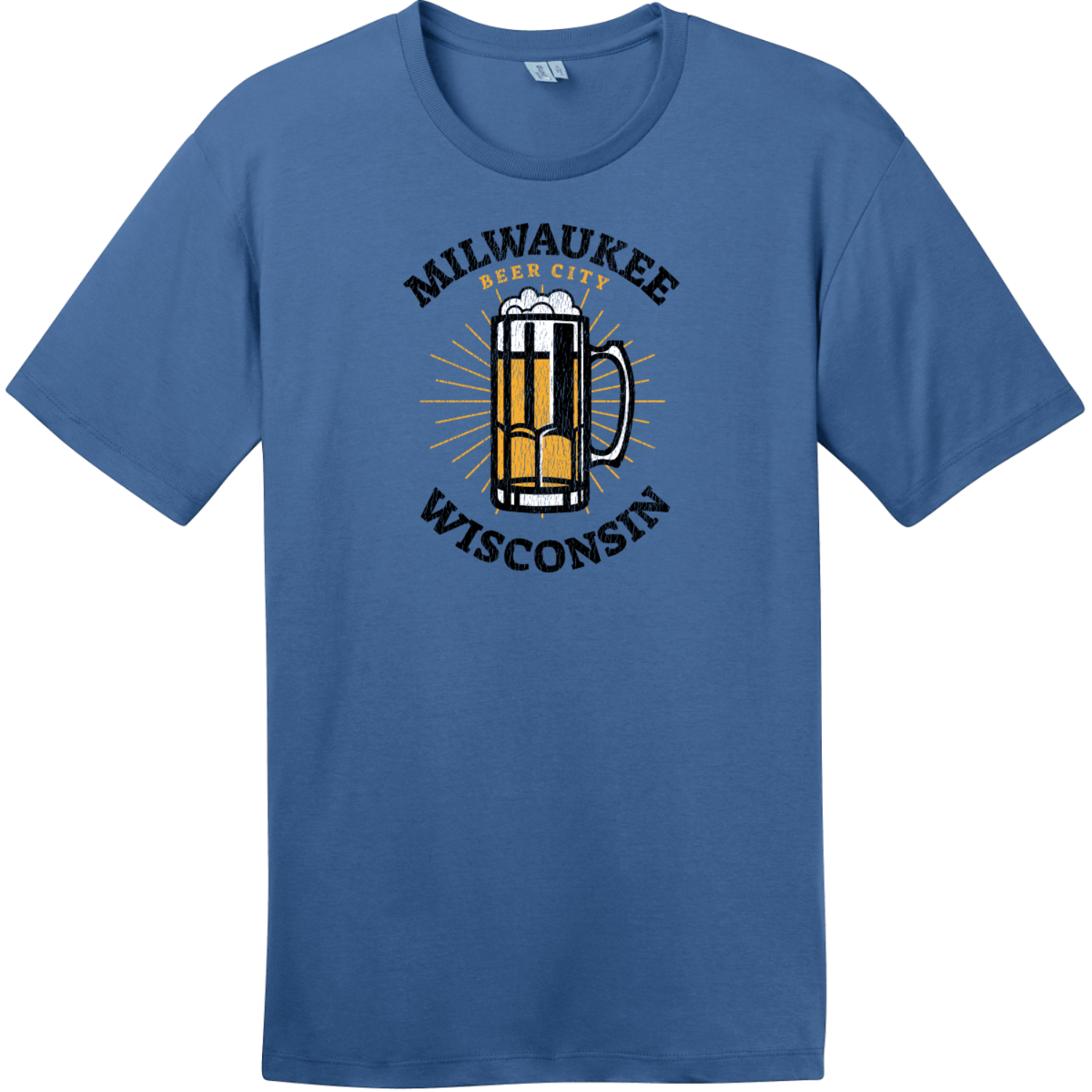 Milwaukee Wisconsin Beer City T-Shirt Maritime Blue District Perfect Weight Tee DT104