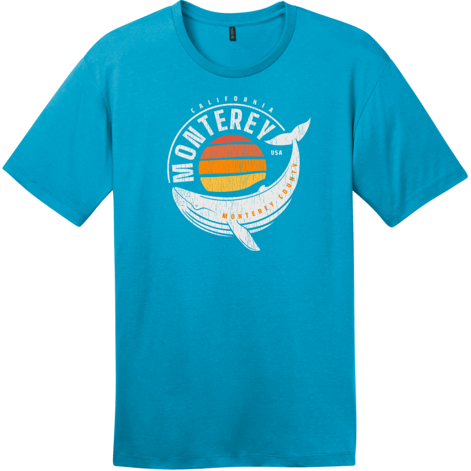 Monterey California Whale T-Shirt Bright Turquoise District Perfect Weight Tee DT104