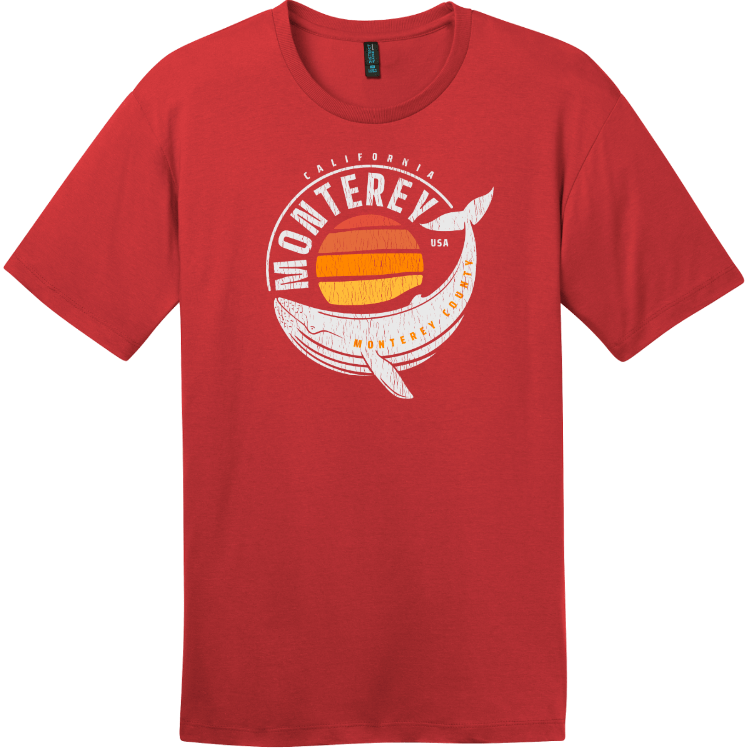 Monterey California Whale T-Shirt Classic Red District Perfect Weight Tee DT104