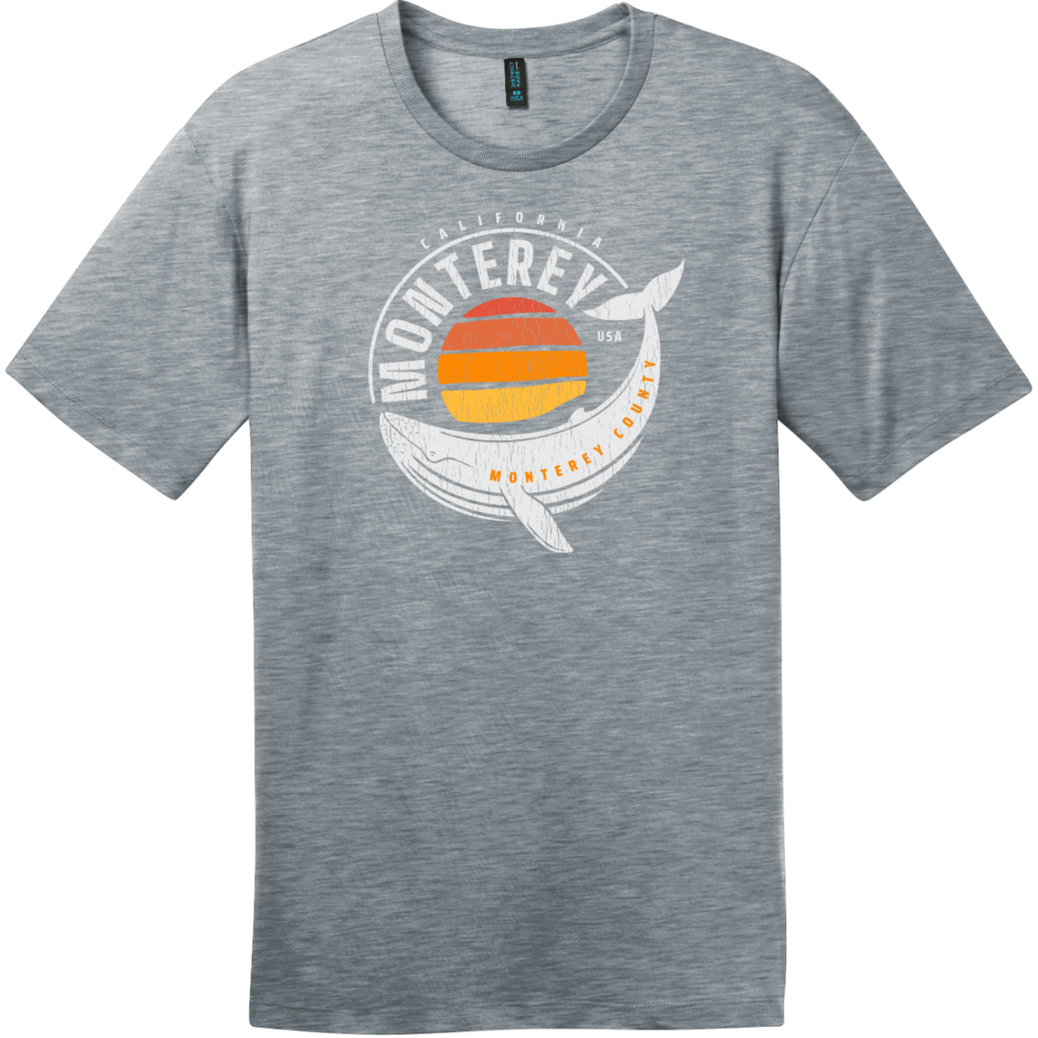 Monterey California Whale T-Shirt Heathered Steel District Perfect Weight Tee DT104