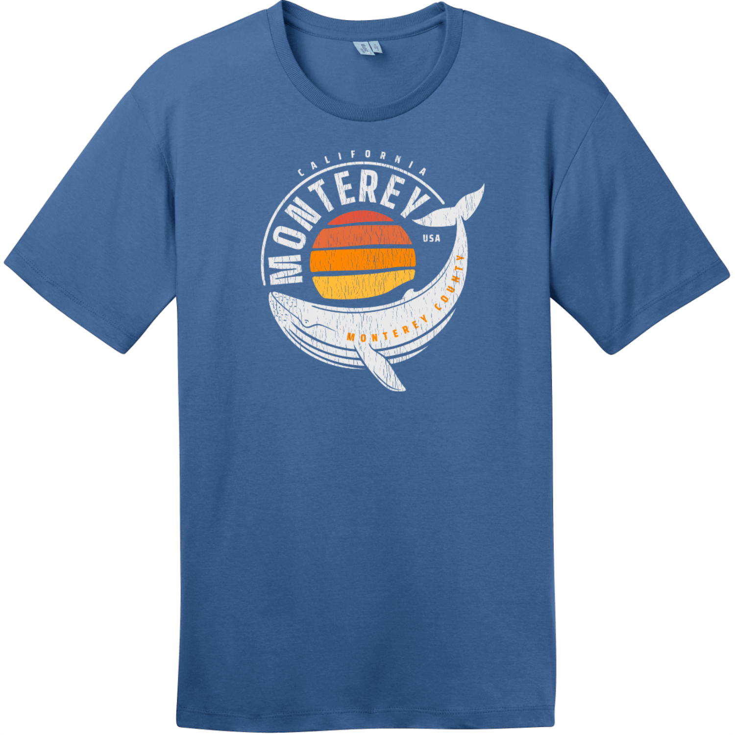 Monterey California Whale T-Shirt Maritime Blue District Perfect Weight Tee DT104