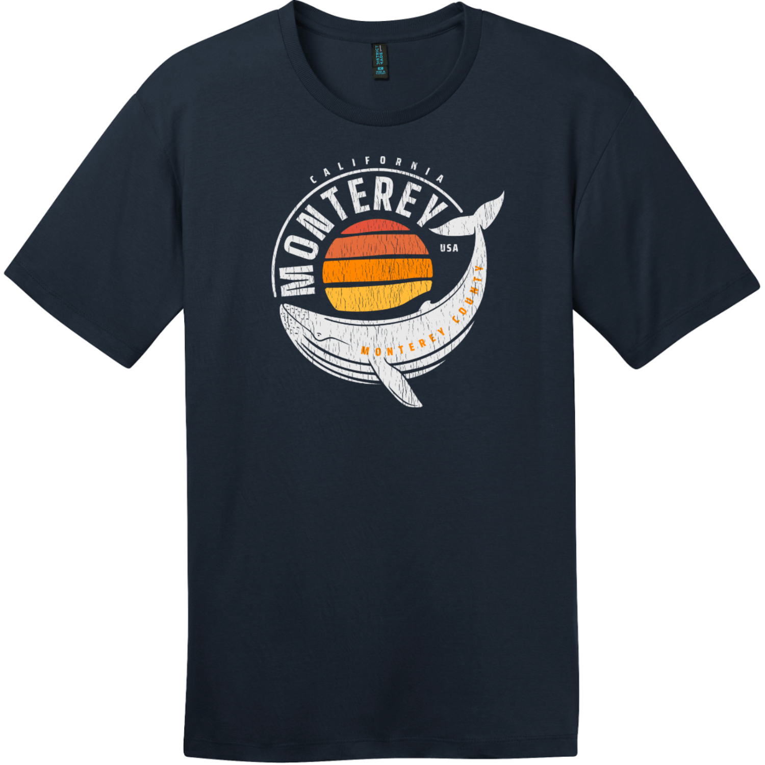 Monterey California Whale T-Shirt New Navy District Perfect Weight Tee DT104