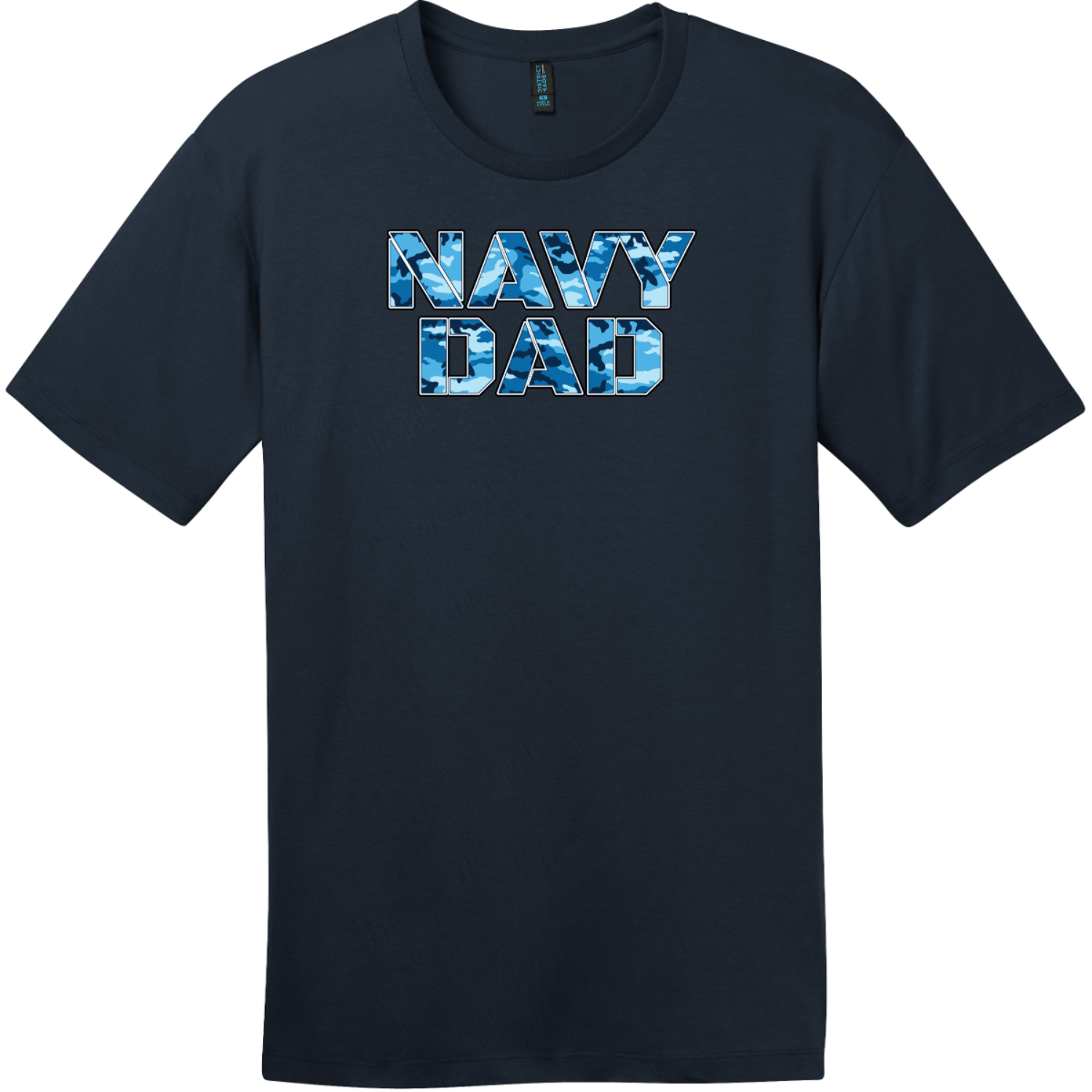 Navy Dad Blue Camo T-Shirt New Navy District Perfect Weight Tee DT104
