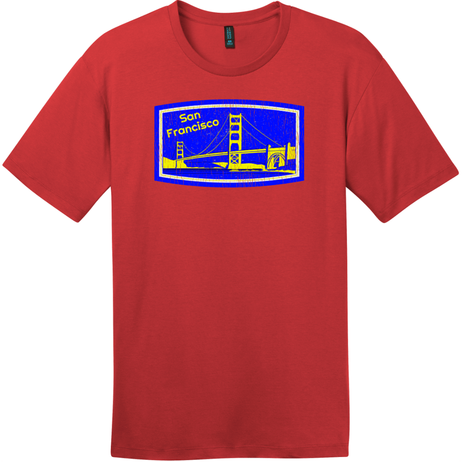 San Francisco Golden Gate Bridge Vintage T-Shirt Classic Red District Perfect Weight Tee DT104