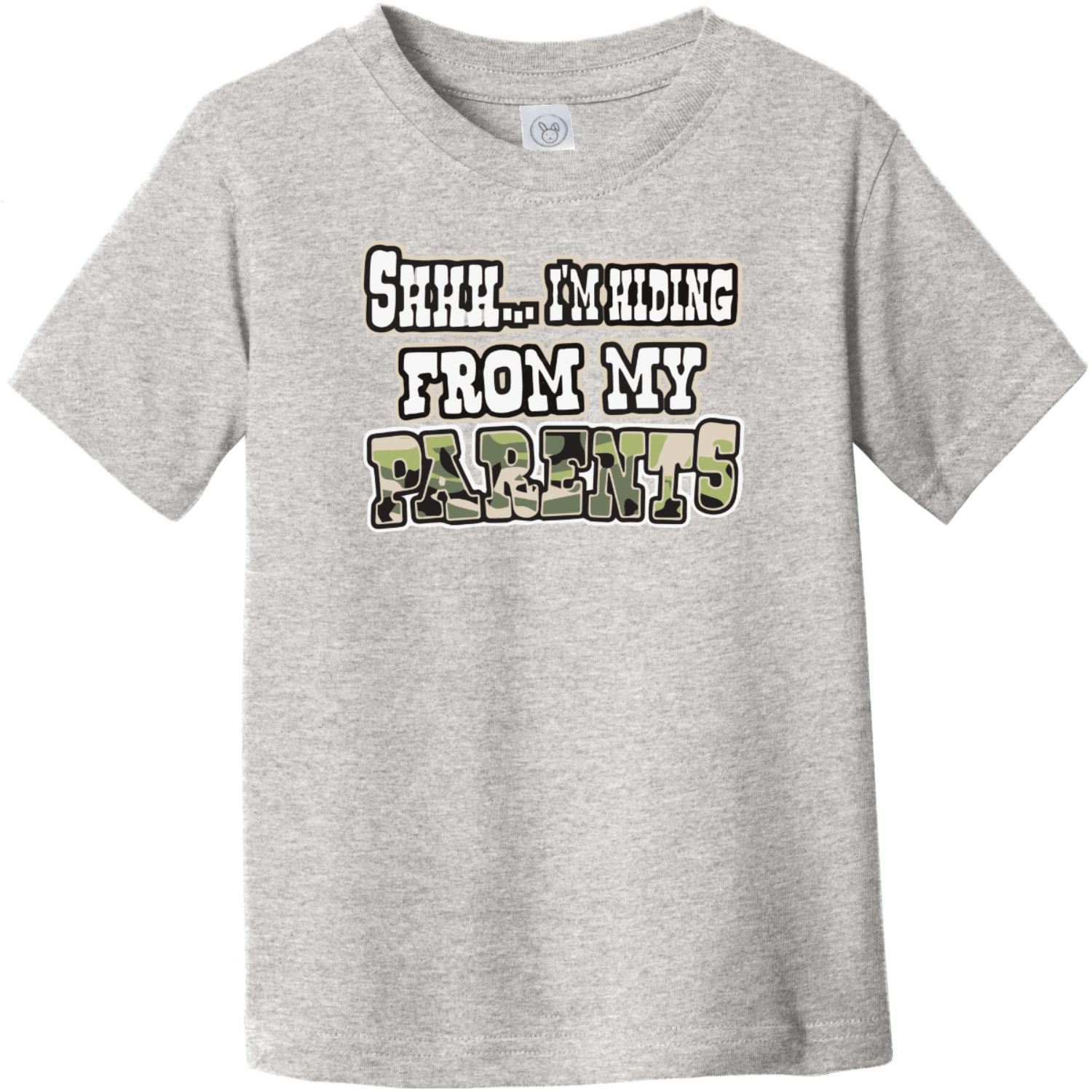 Shhh I'm Hiding From My Parents Toddler T-Shirt Heather Rabbit Skins Toddler Fine Jersey Tee RS3321