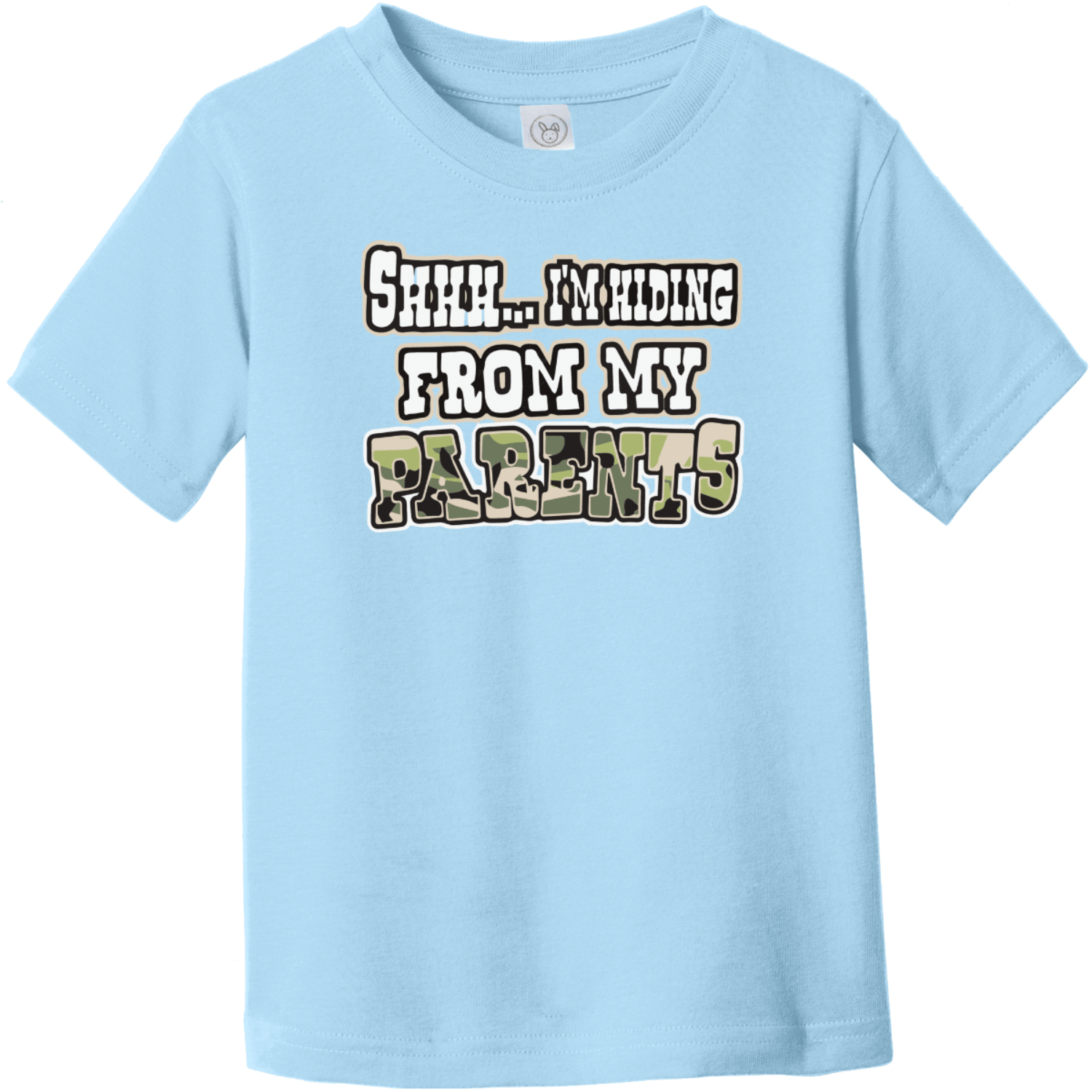 Shhh I'm Hiding From My Parents Toddler T-Shirt Light Blue Rabbit Skins Toddler Fine Jersey Tee RS3321