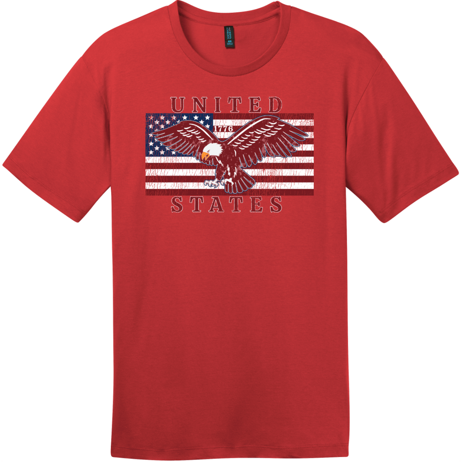 United States Flag Eagle Vintage T-Shirt Classic Red District Perfect Weight Tee DT104