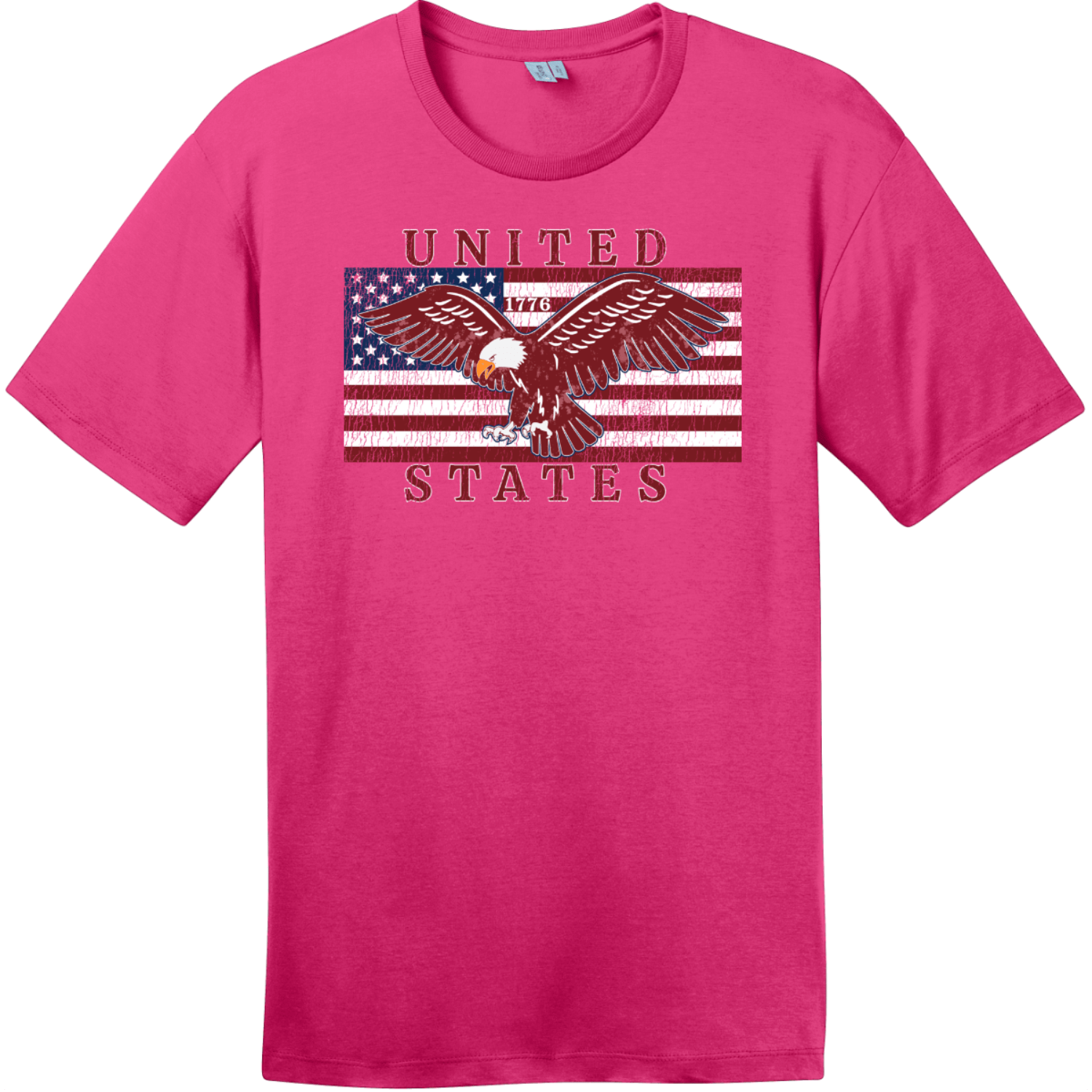 United States Flag Eagle Vintage T-Shirt Dark Fuchsia District Perfect Weight Tee DT104