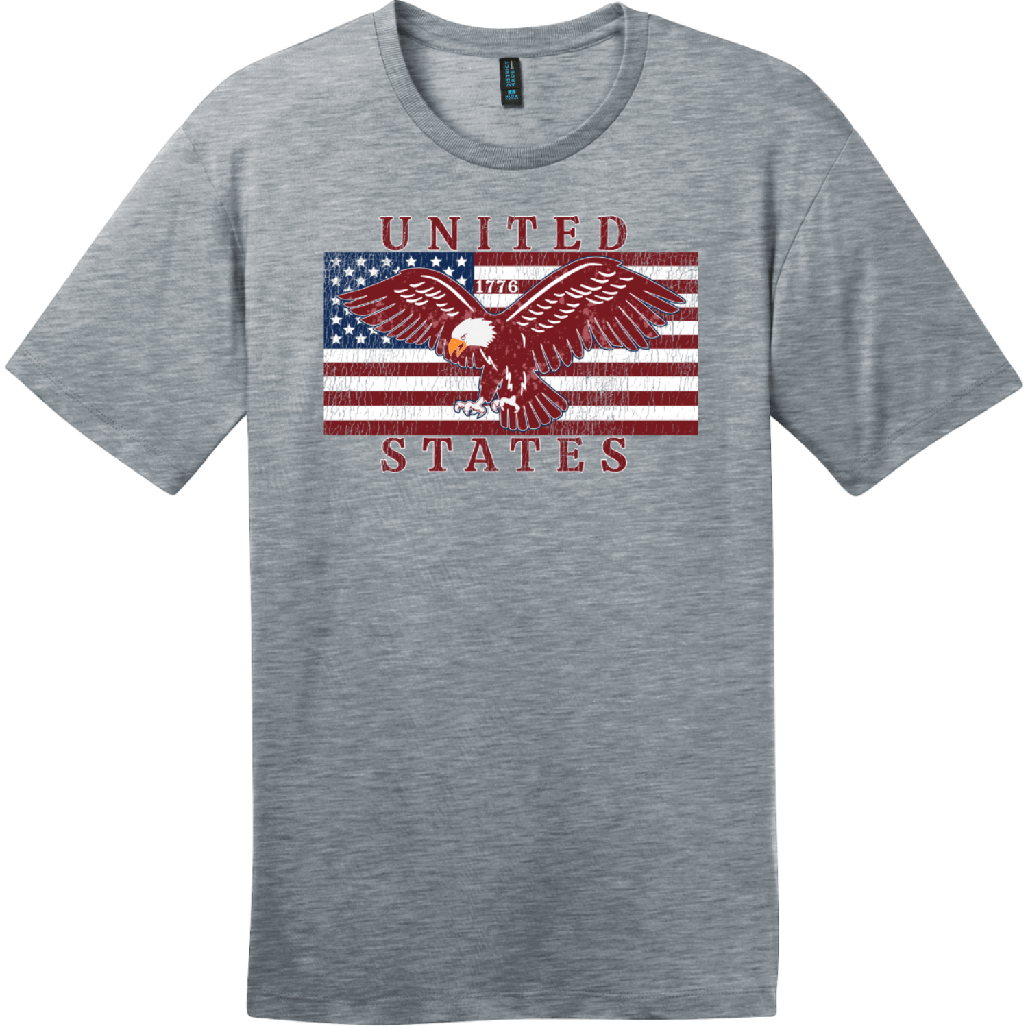 United States Flag Eagle Vintage T-Shirt Heathered Steel District Perfect Weight Tee DT104