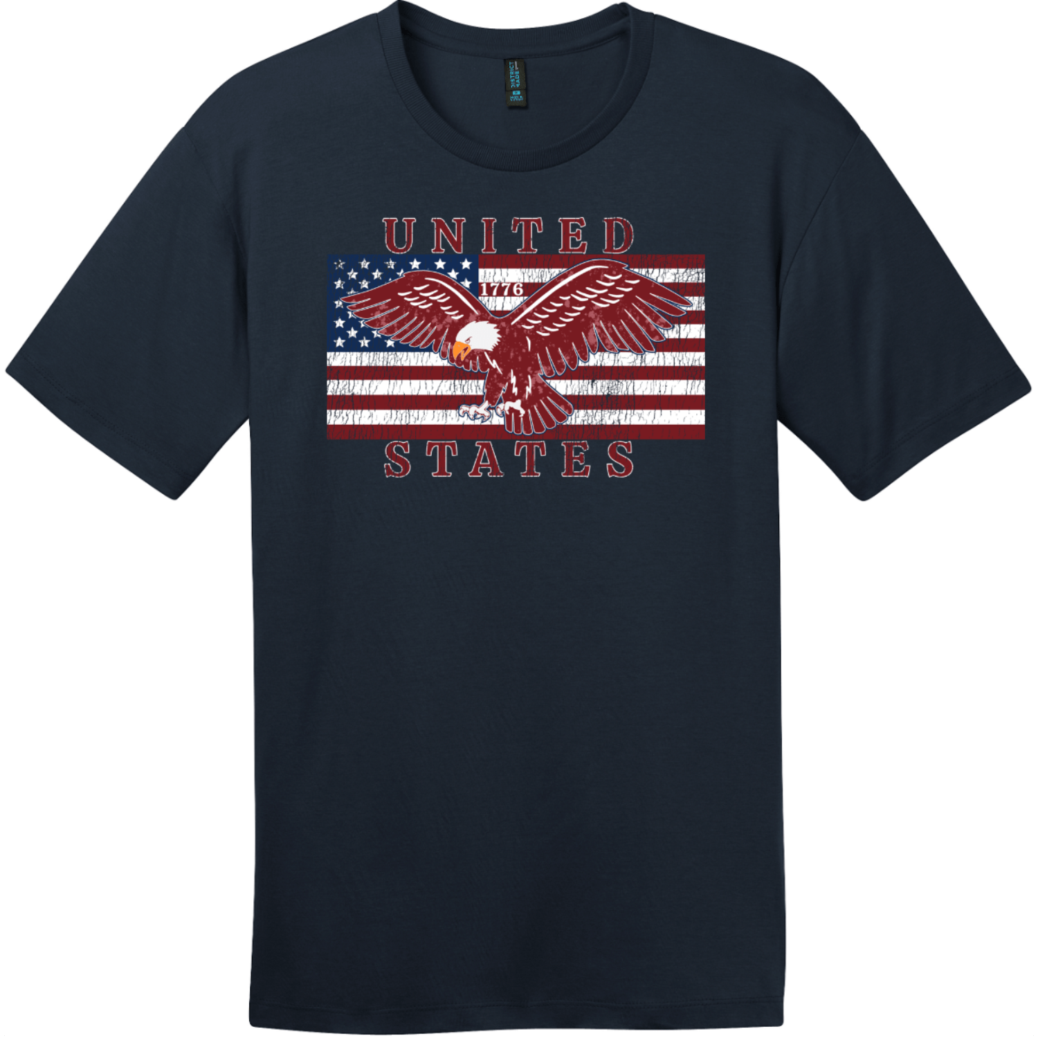 United States Flag Eagle Vintage T-Shirt New Navy District Perfect Weight Tee DT104