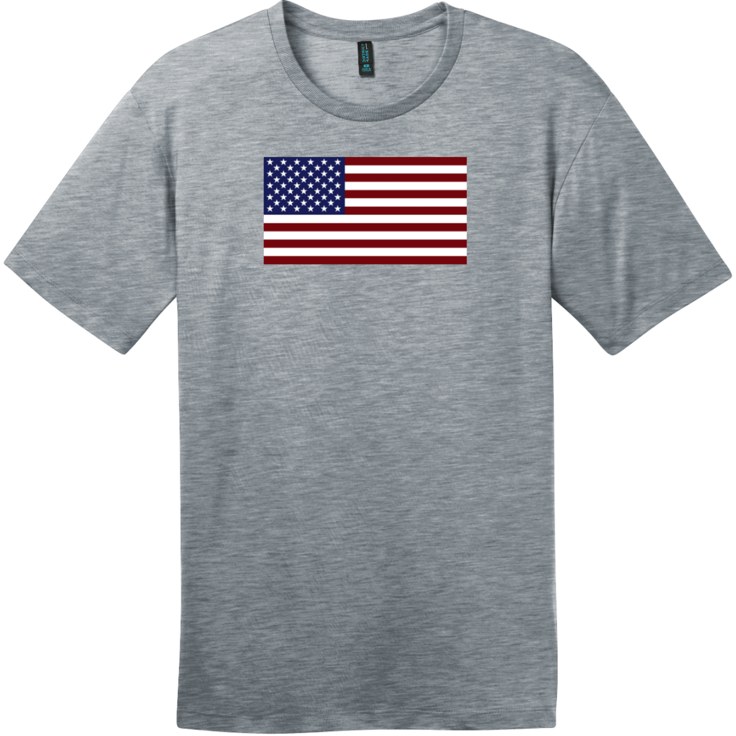 United States of America Flag T-Shirt Heathered Steel District Perfect Weight Tee DT104