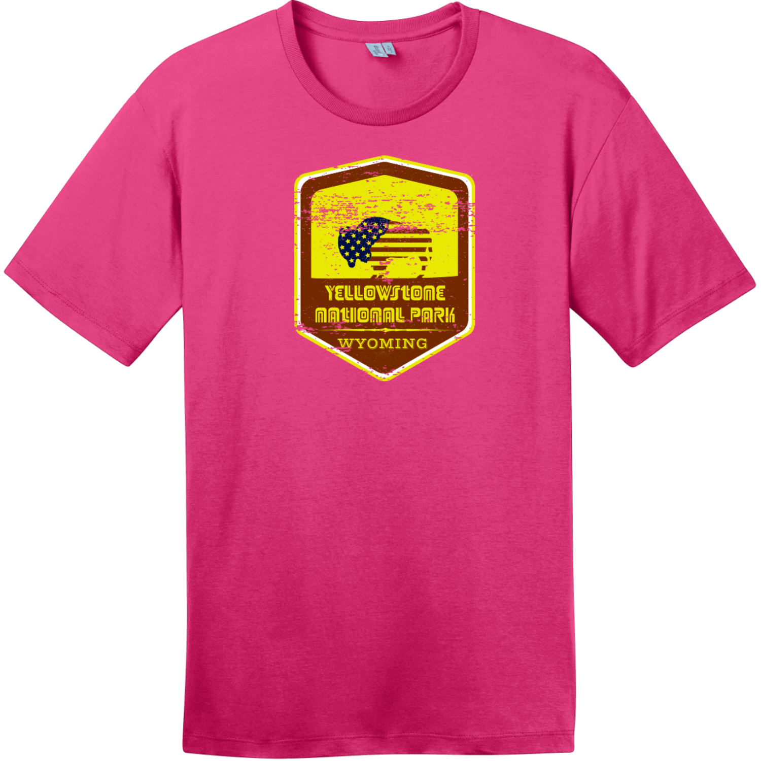 Yellowstone National Park Vintage T-Shirt Dark Fuchsia District Perfect Weight Tee DT104
