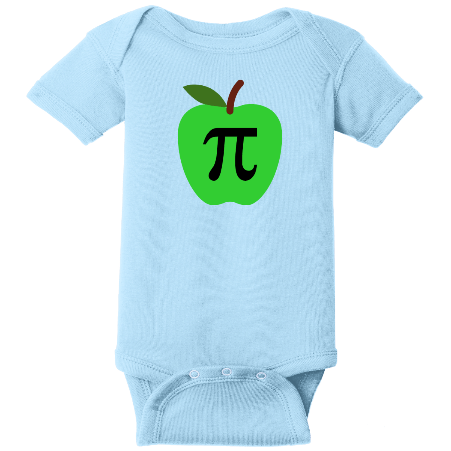 Apple Pi Baby Bodysuit Light Blue Rabbit Skins Infant Short Sleeve Infant Rib Bodysuit RS4400