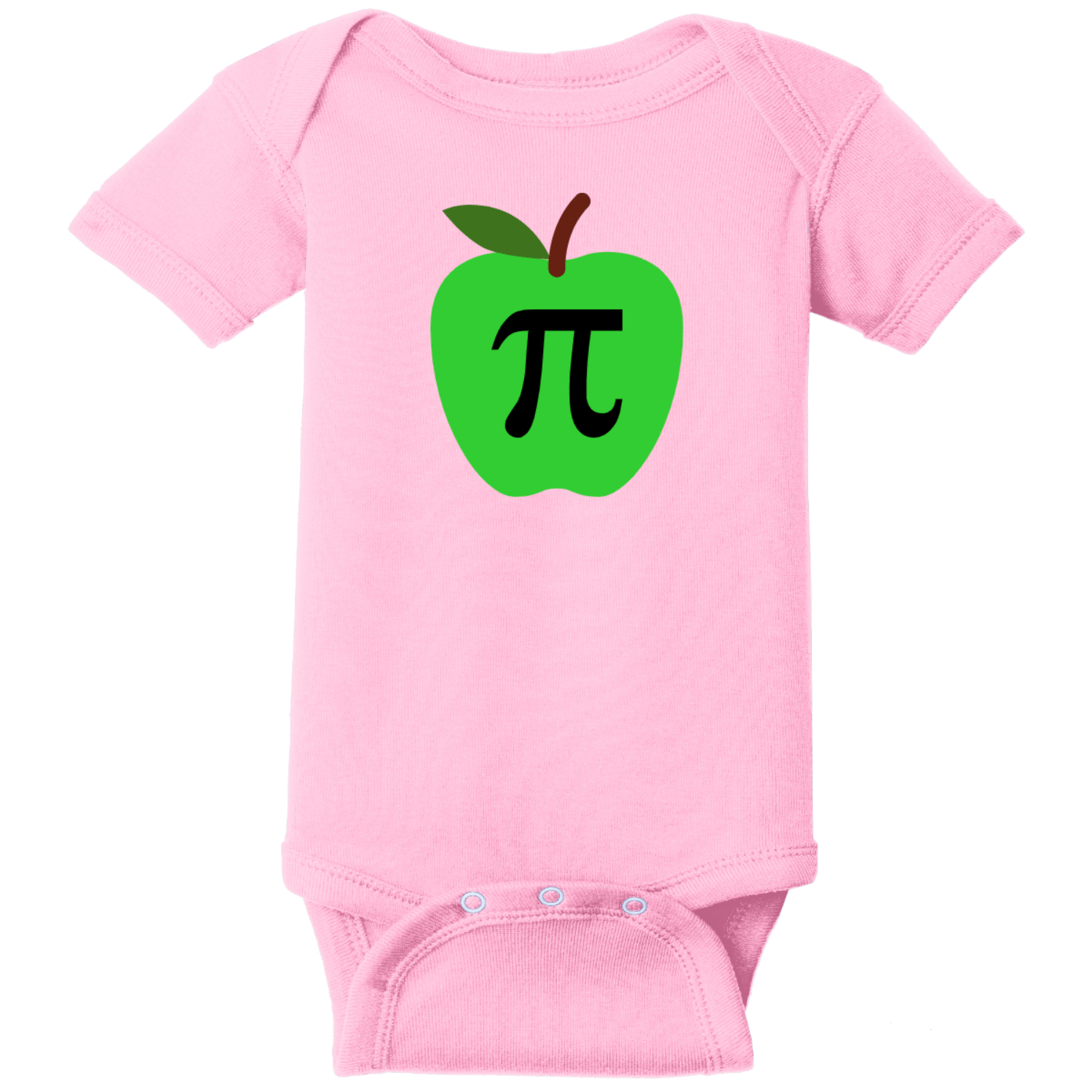 Apple Pi Baby Bodysuit Pink Rabbit Skins Infant Short Sleeve Infant Rib Bodysuit RS4400