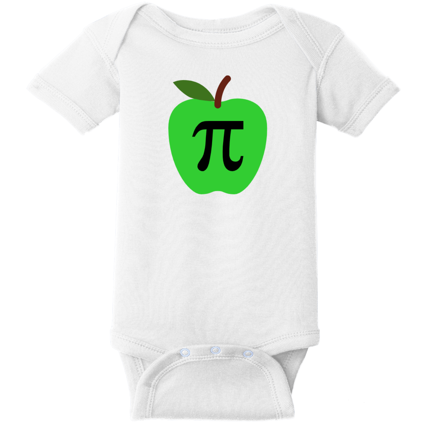 Apple Pi Baby Bodysuit White Rabbit Skins Infant Short Sleeve Infant Rib Bodysuit RS4400