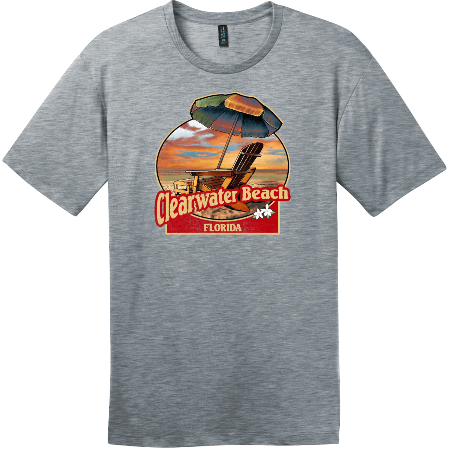 Clearwater Beach Florida Vintage Beach T-Shirt Heathered Steel District Perfect Weight Tee DT104
