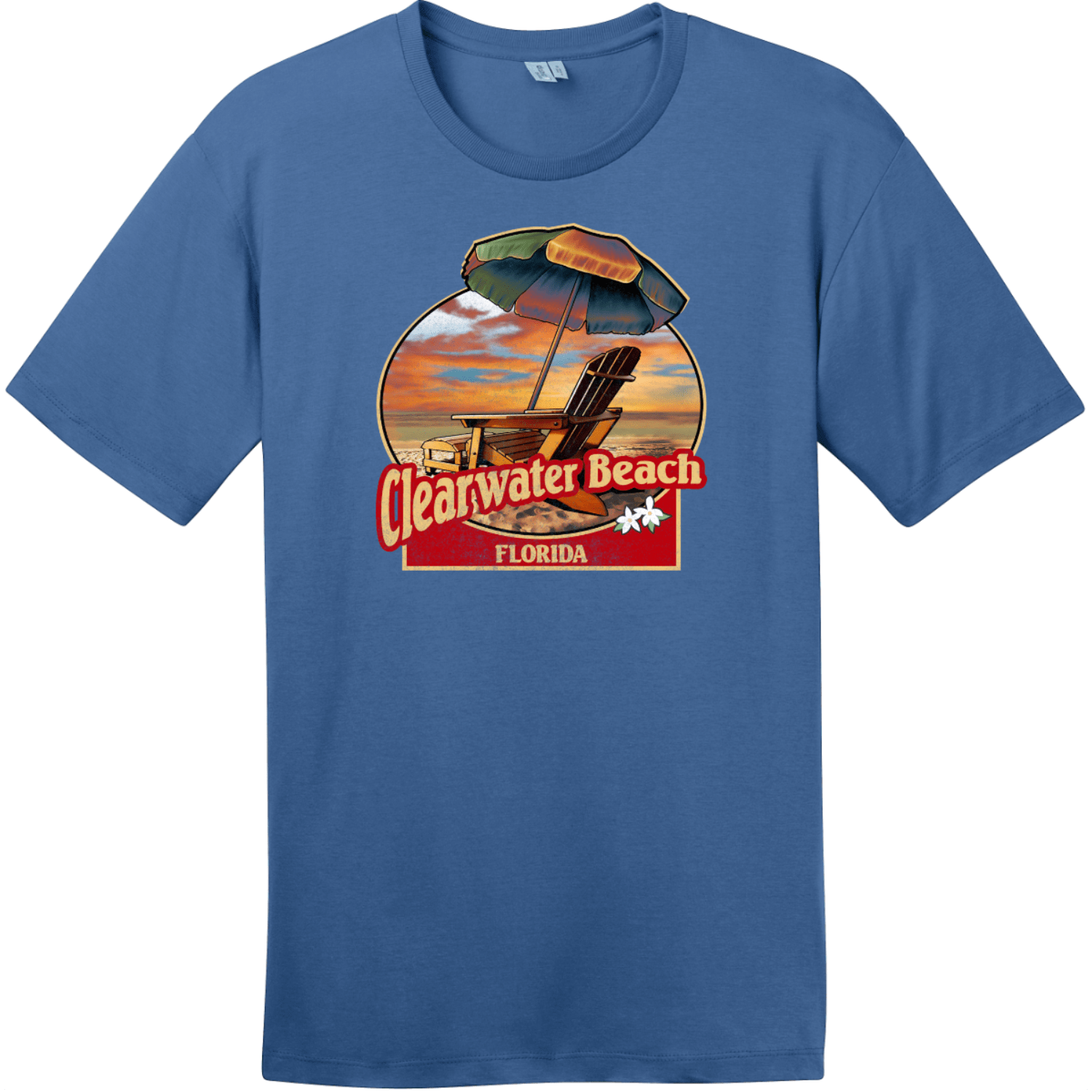 Clearwater Beach Florida Vintage Beach T-Shirt Maritime Blue District Perfect Weight Tee DT104