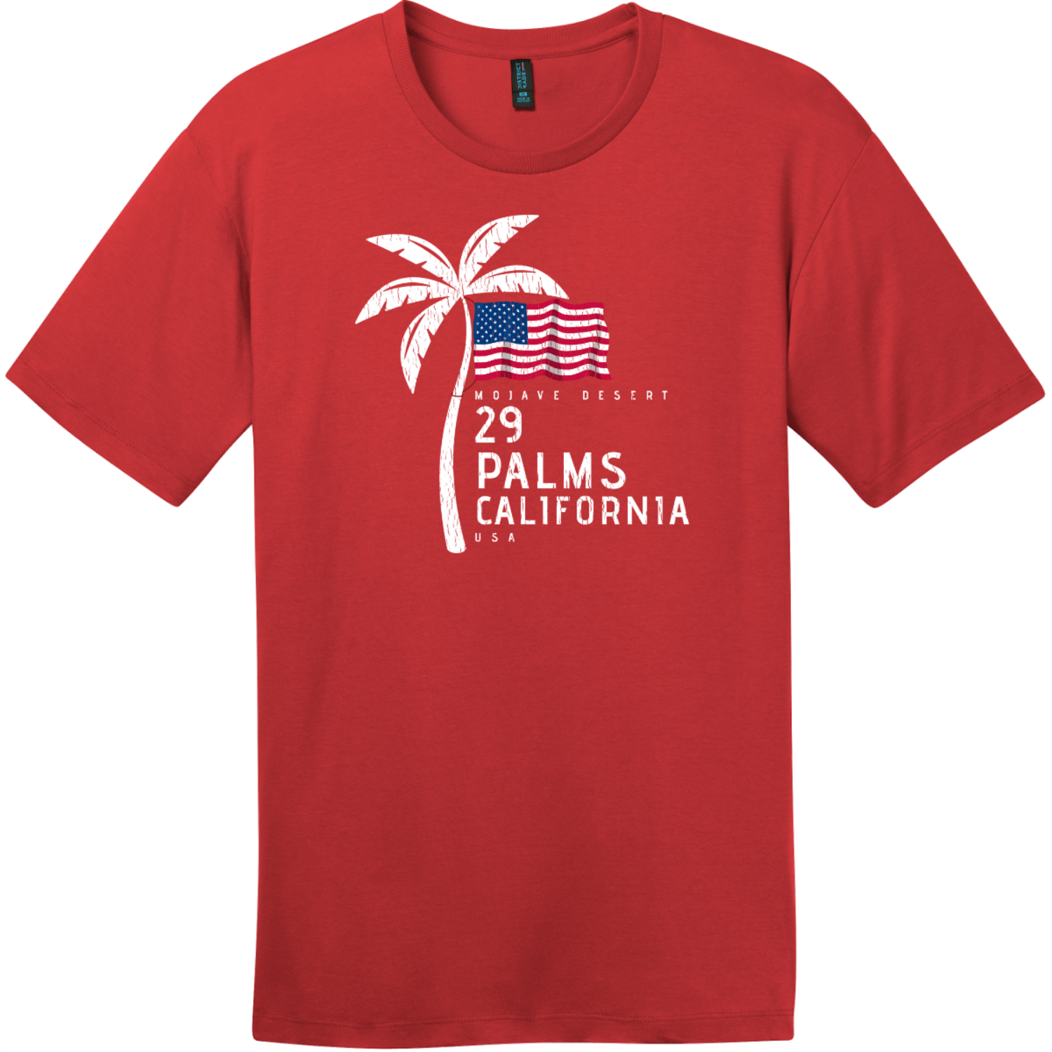29 Palms California American Flag Palm Tree T-Shirt Classic Red District Perfect Weight Tee DT104