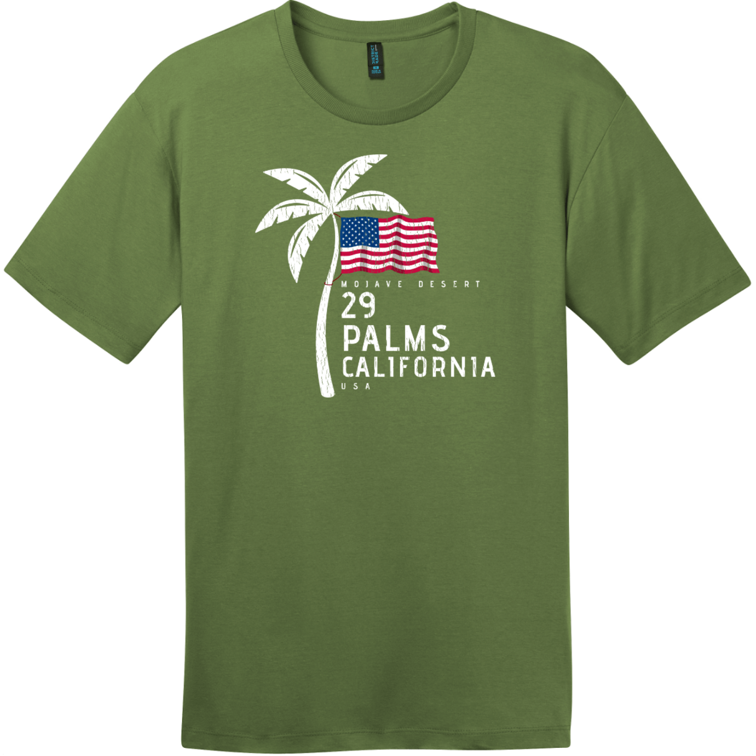29 Palms California American Flag Palm Tree T-Shirt Fresh Fatigue District Perfect Weight Tee DT104