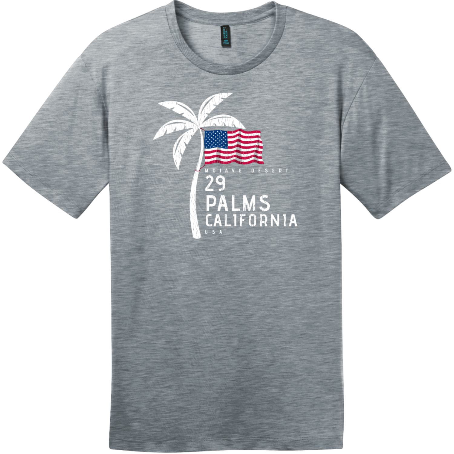 29 Palms California American Flag Palm Tree T-Shirt Heathered Steel District Perfect Weight Tee DT104