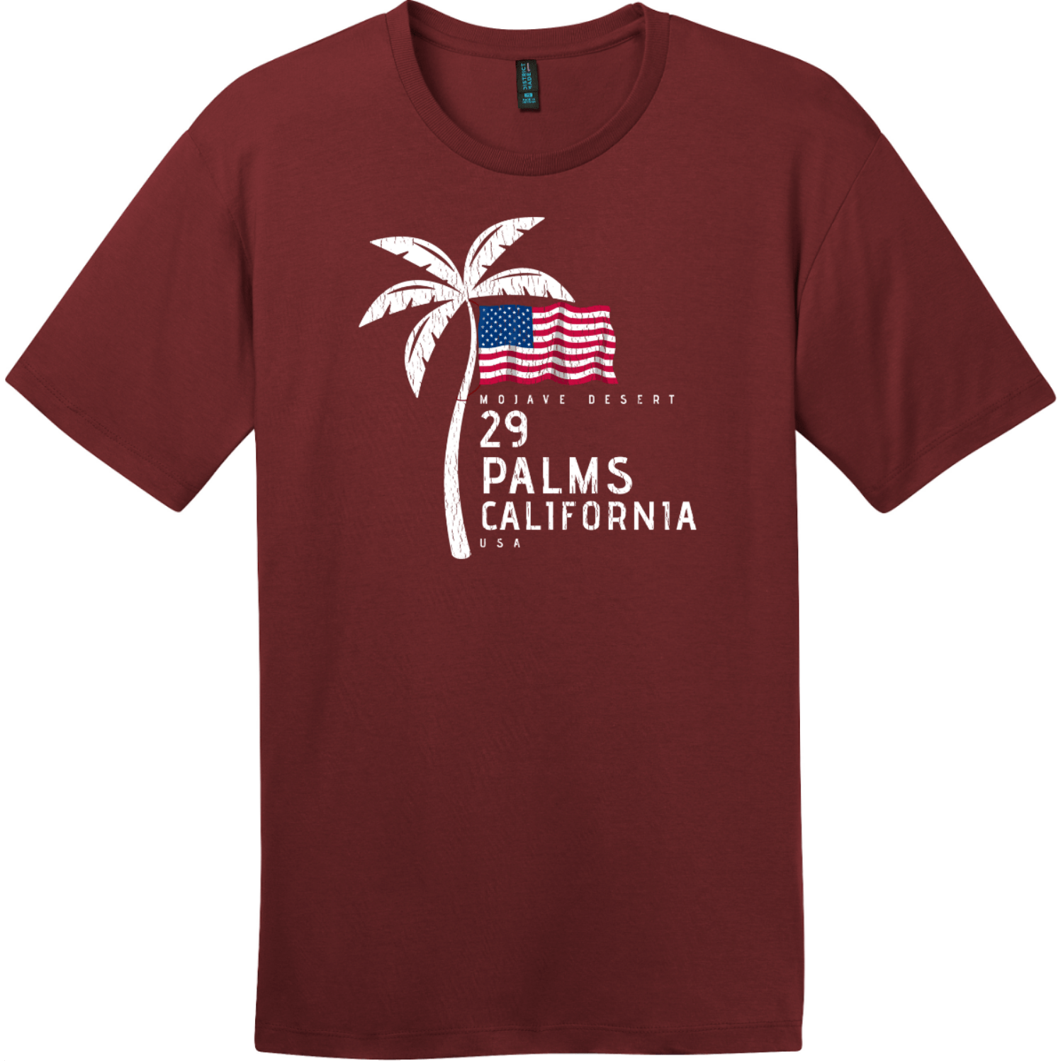 29 Palms California American Flag Palm Tree T-Shirt Sangria District Perfect Weight Tee DT104